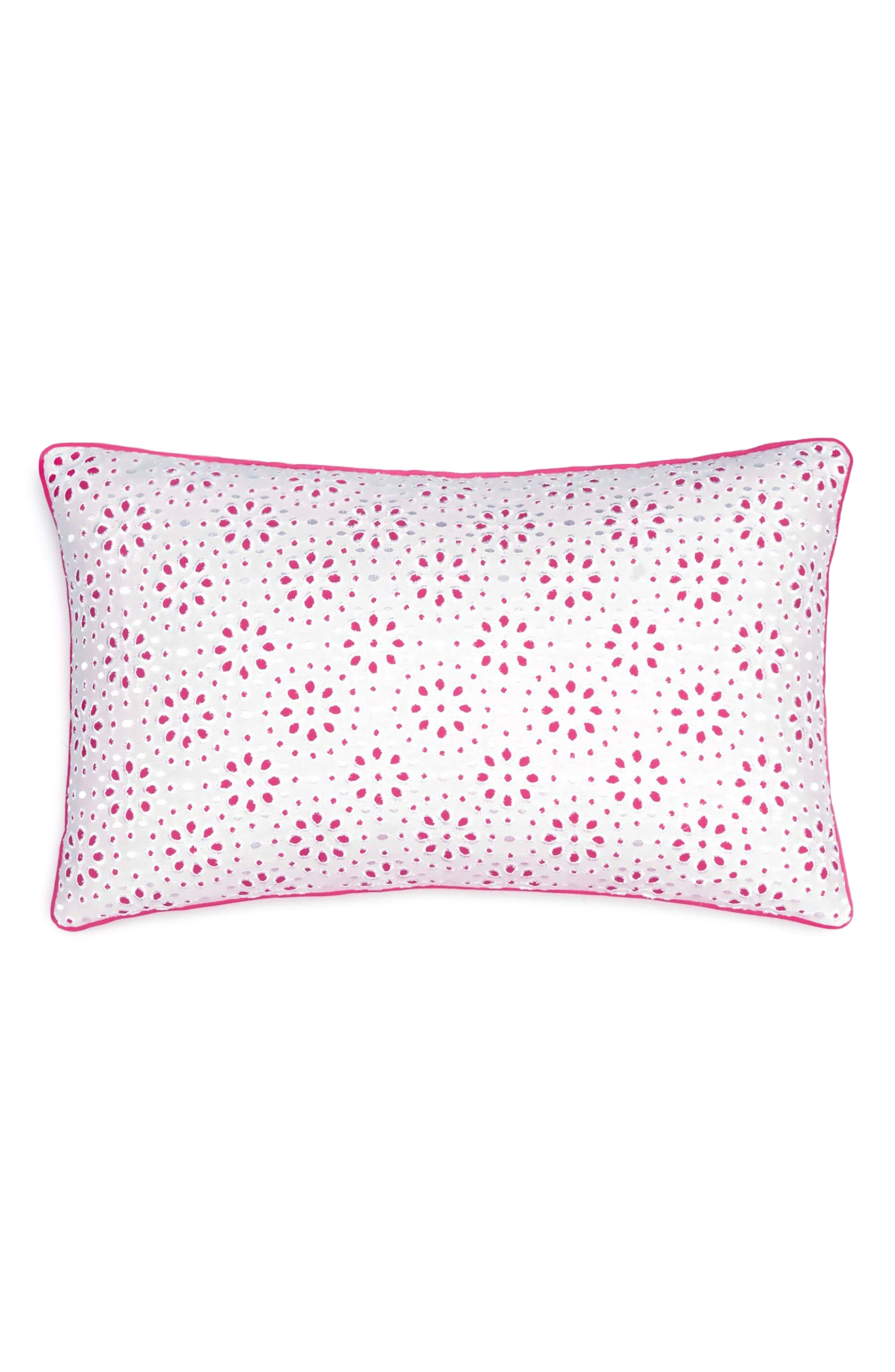 Floral Eyelet Pillow,                         Main,                         color, Pink