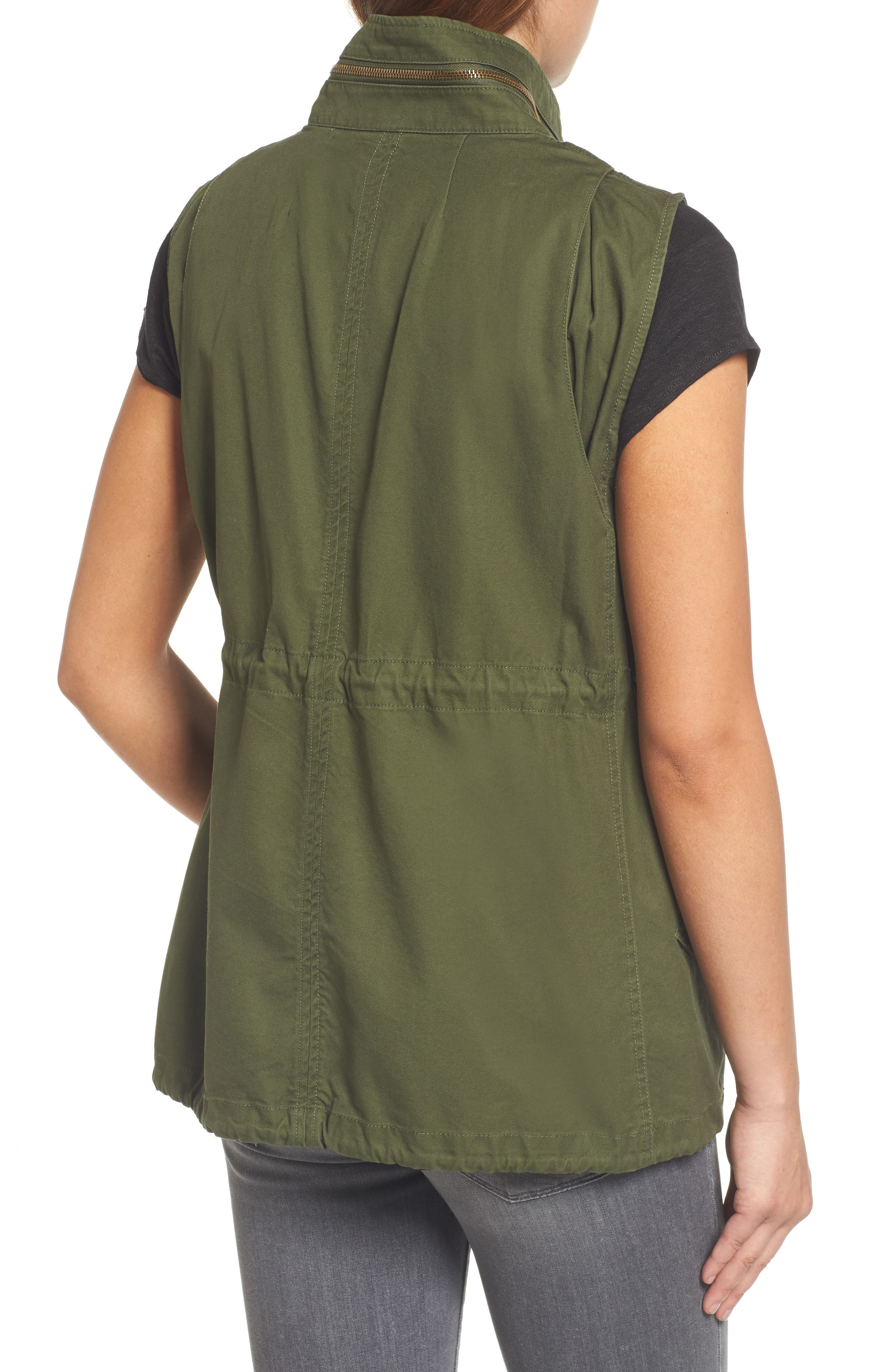 Alternate Image 2  - Pleione Cotton Twill Military Vest (Regular & Petite)