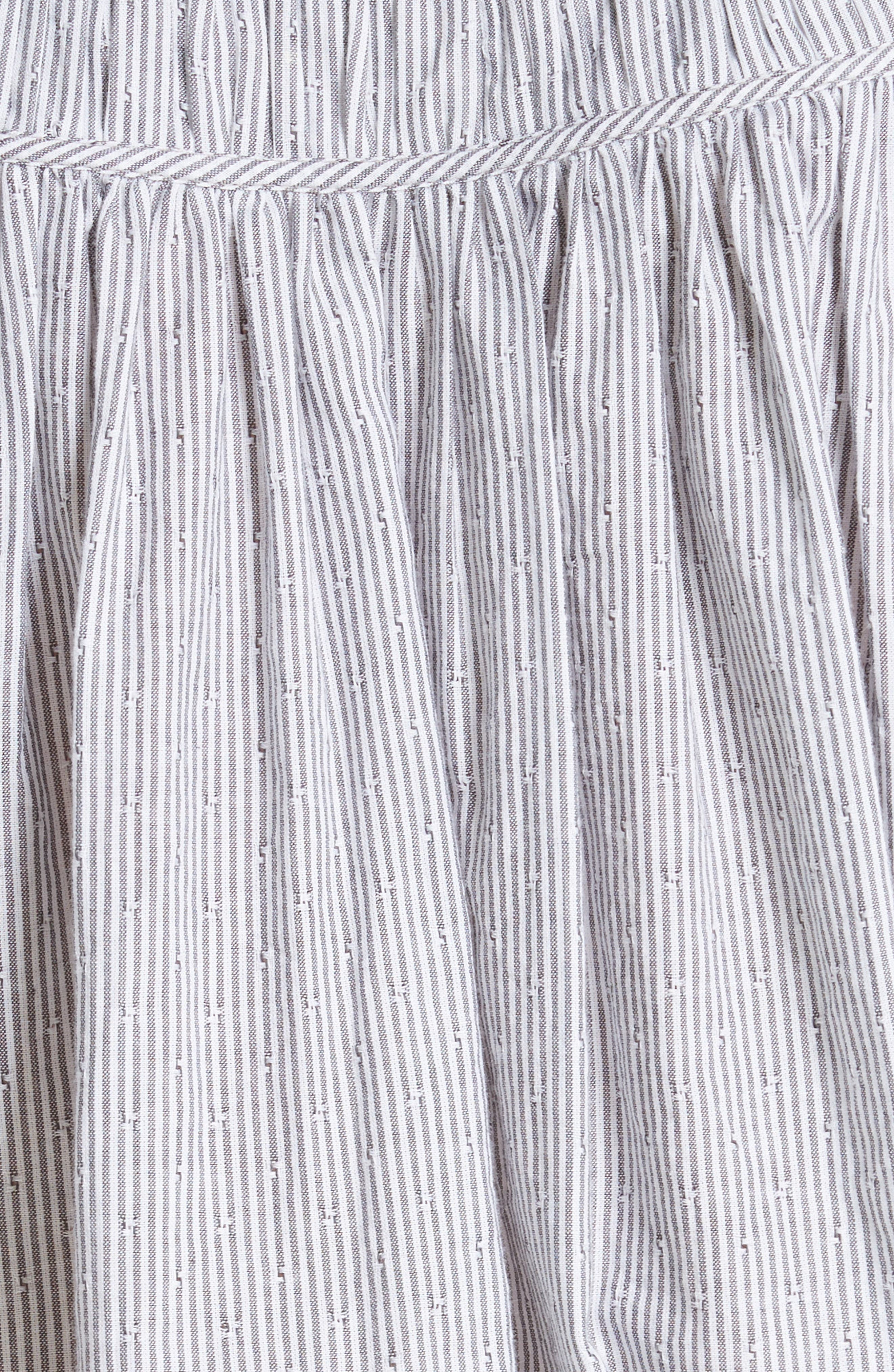 Stripe Long Sleeve Ruffle Shirt,                             Alternate thumbnail 5, color,                             Washed Black Combo