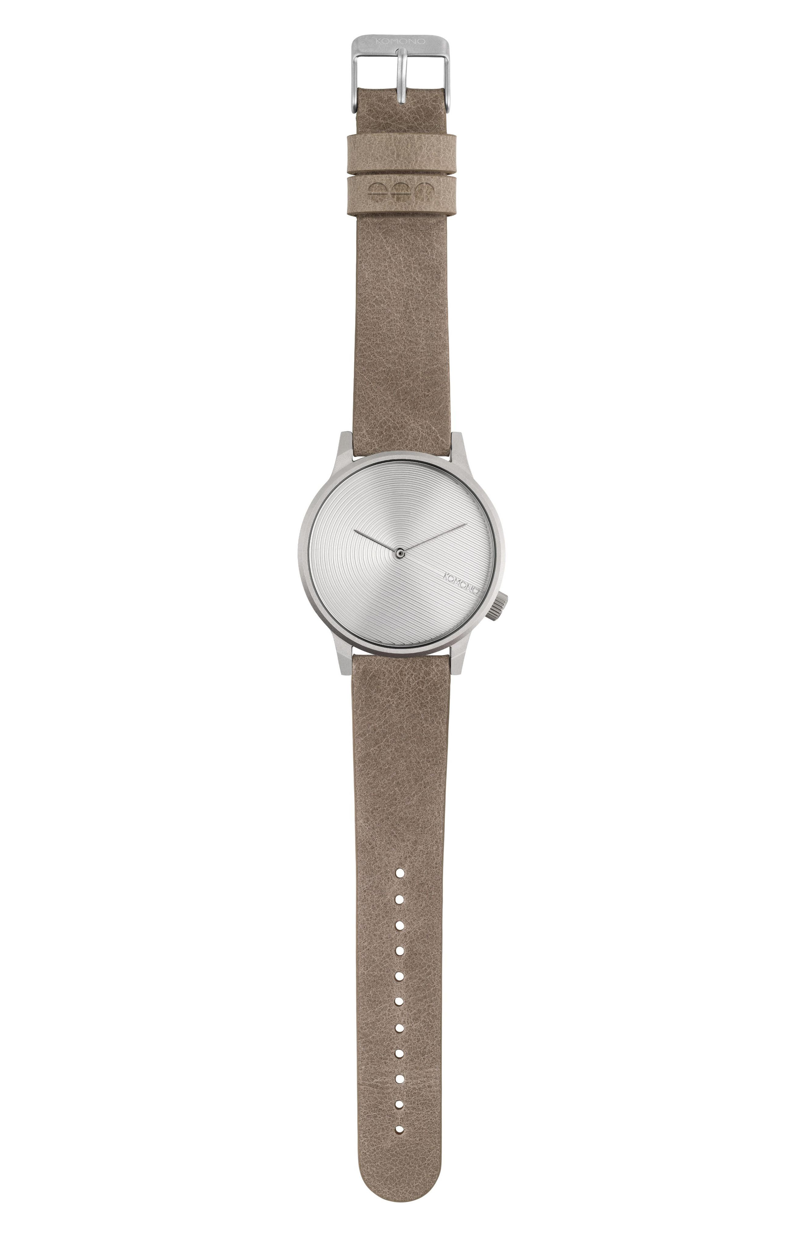 Winston Deco Leather Strap Watch, 41mm,                             Alternate thumbnail 2, color,                             Dove/ Dove