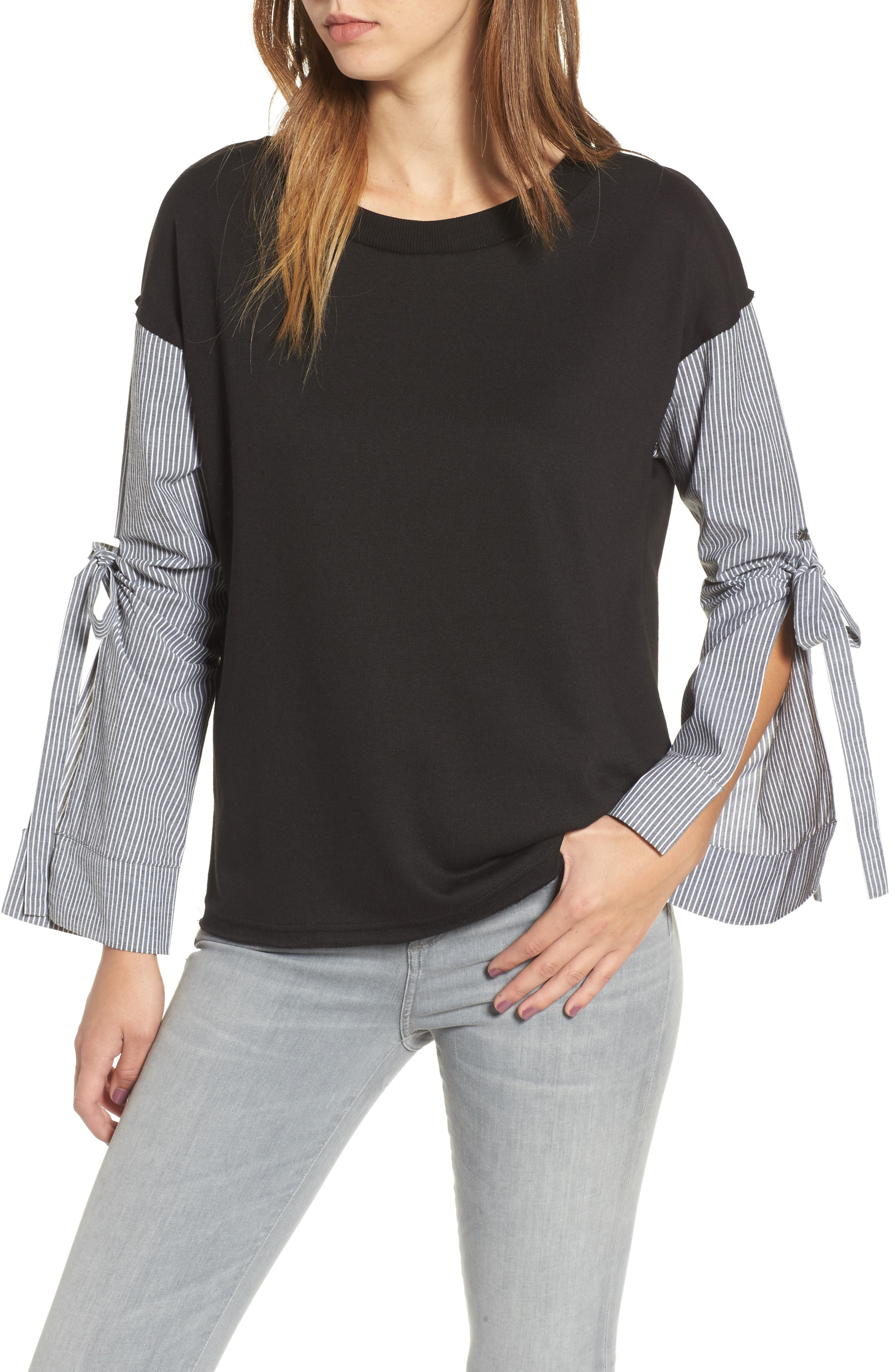 Socialite Tie Sleeve Sweatshirt