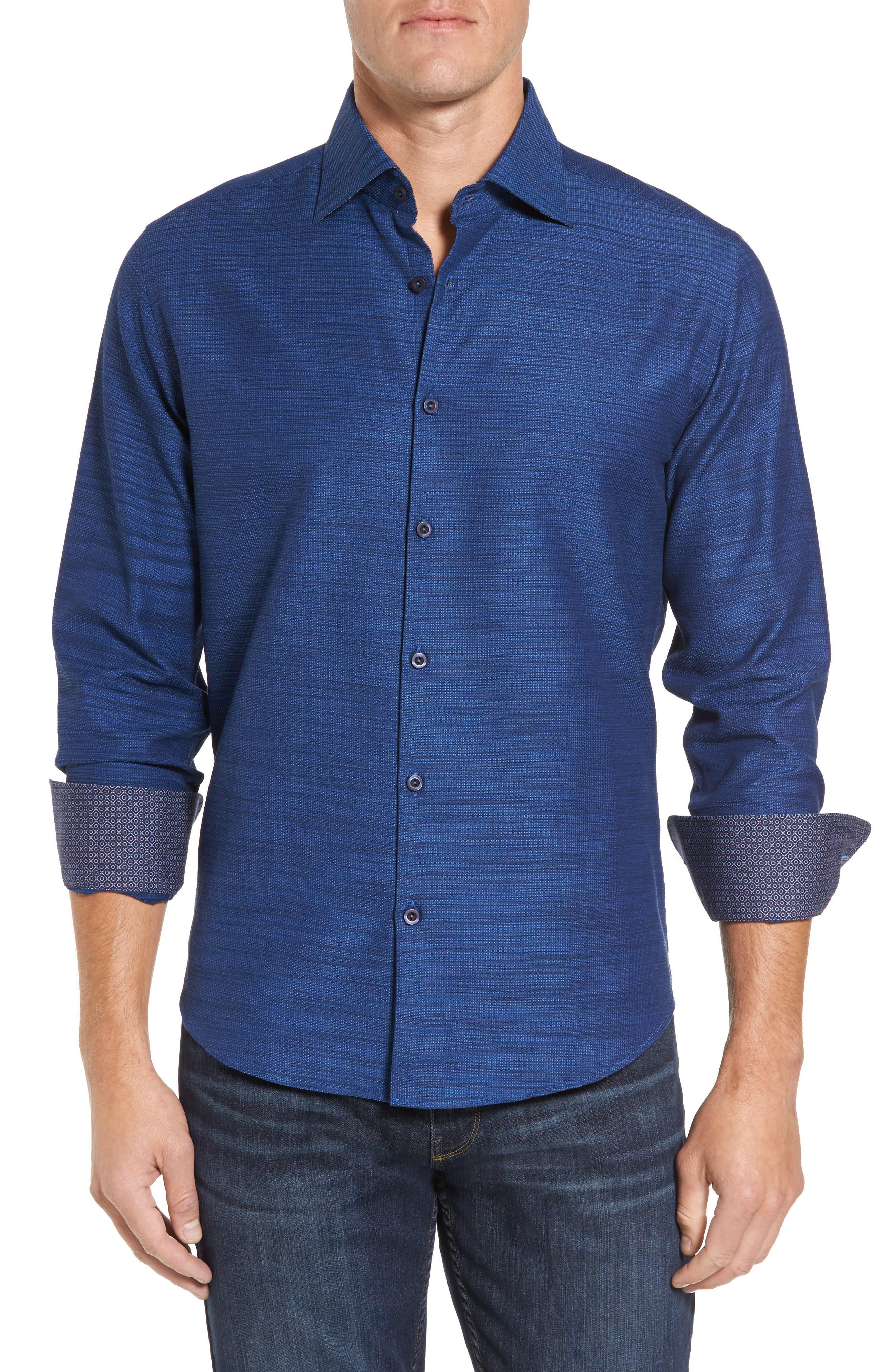 Main Image - Stone Rose Slim Fit Mélange Textured Sport Shirt