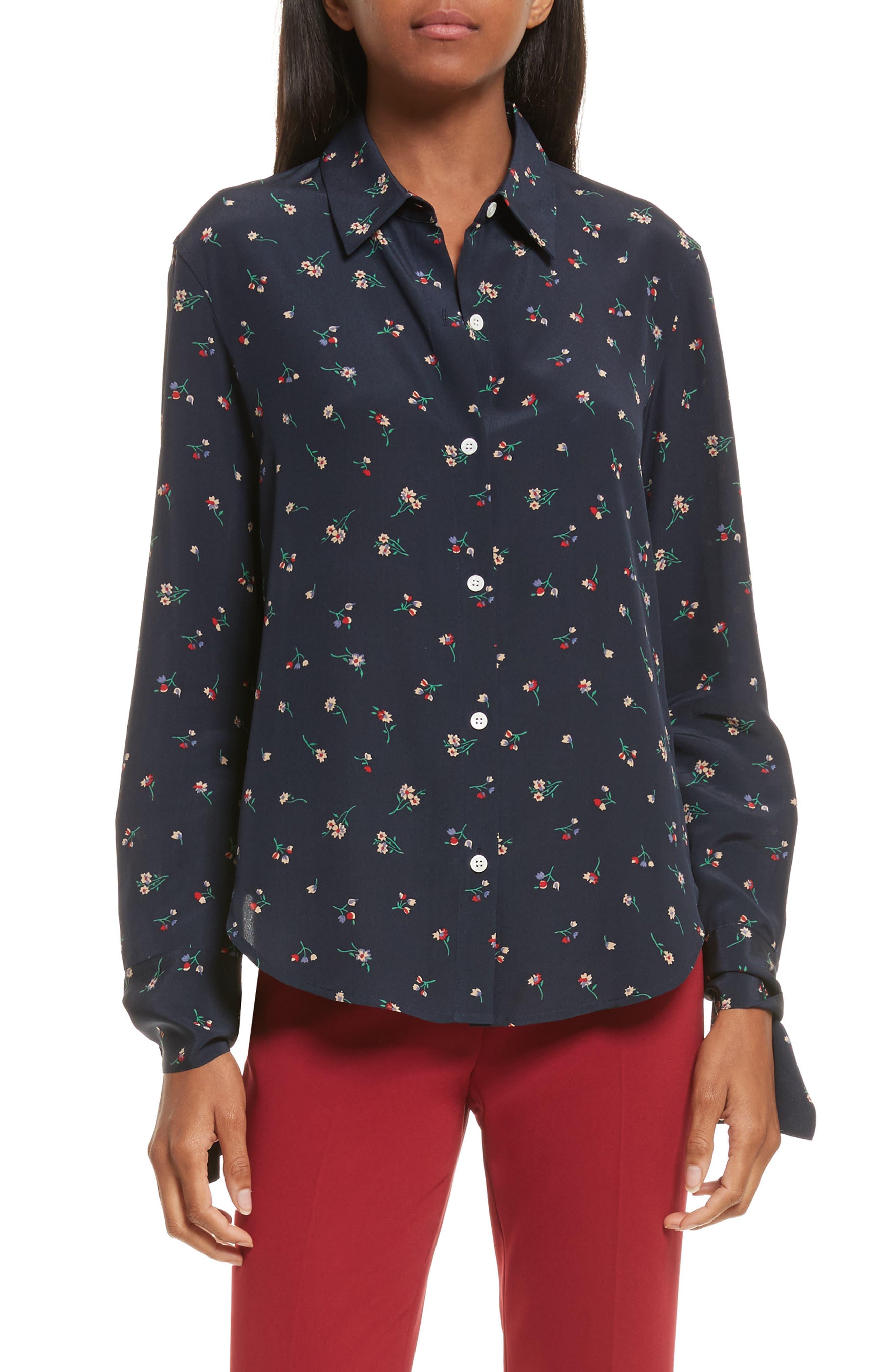 Tie Cuff Floral Print Silk Shirt,                         Main,                         color, Deep Navy