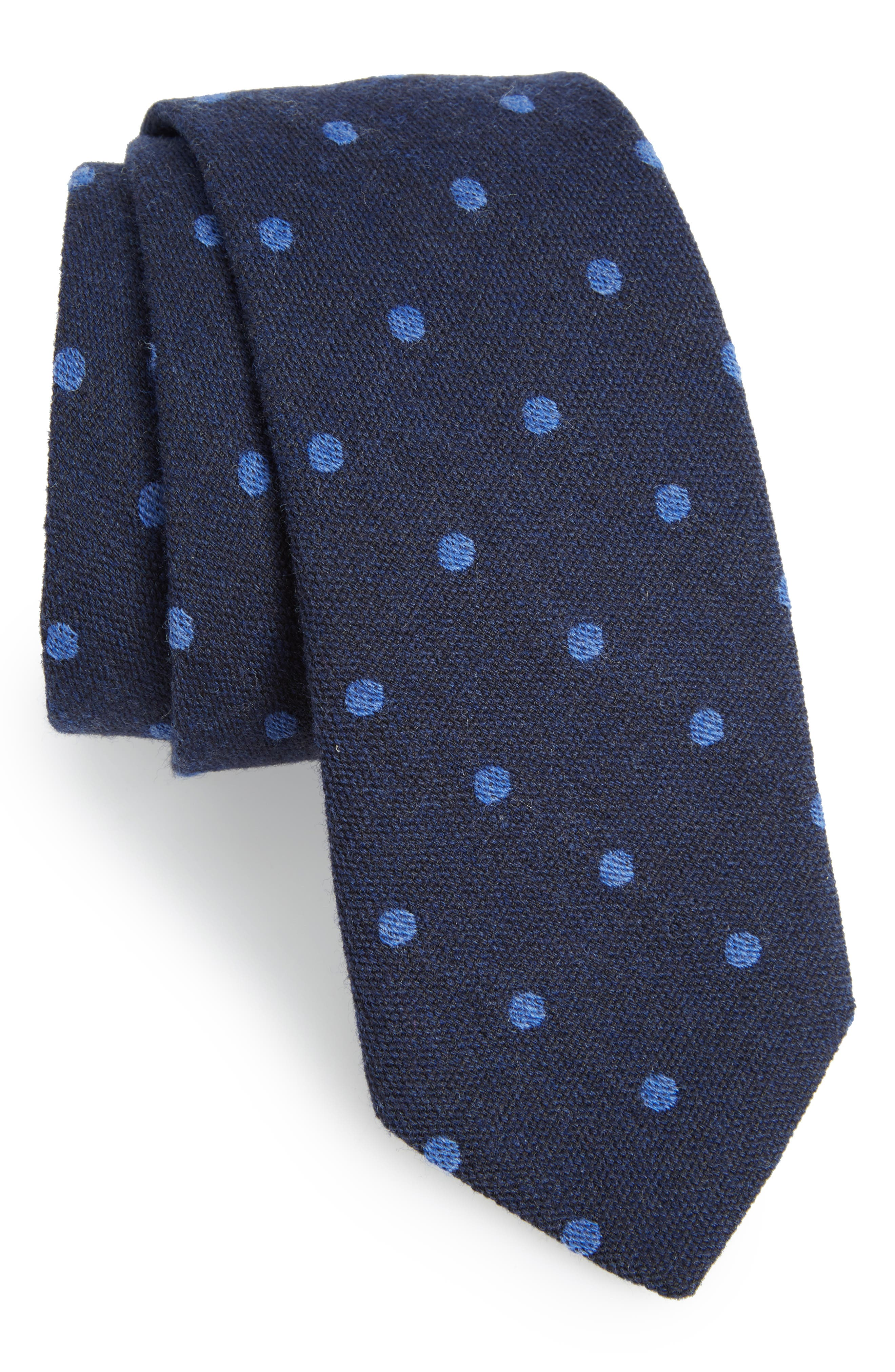 Newell Dot Wool Tie,                         Main,                         color, Dot After Midnight