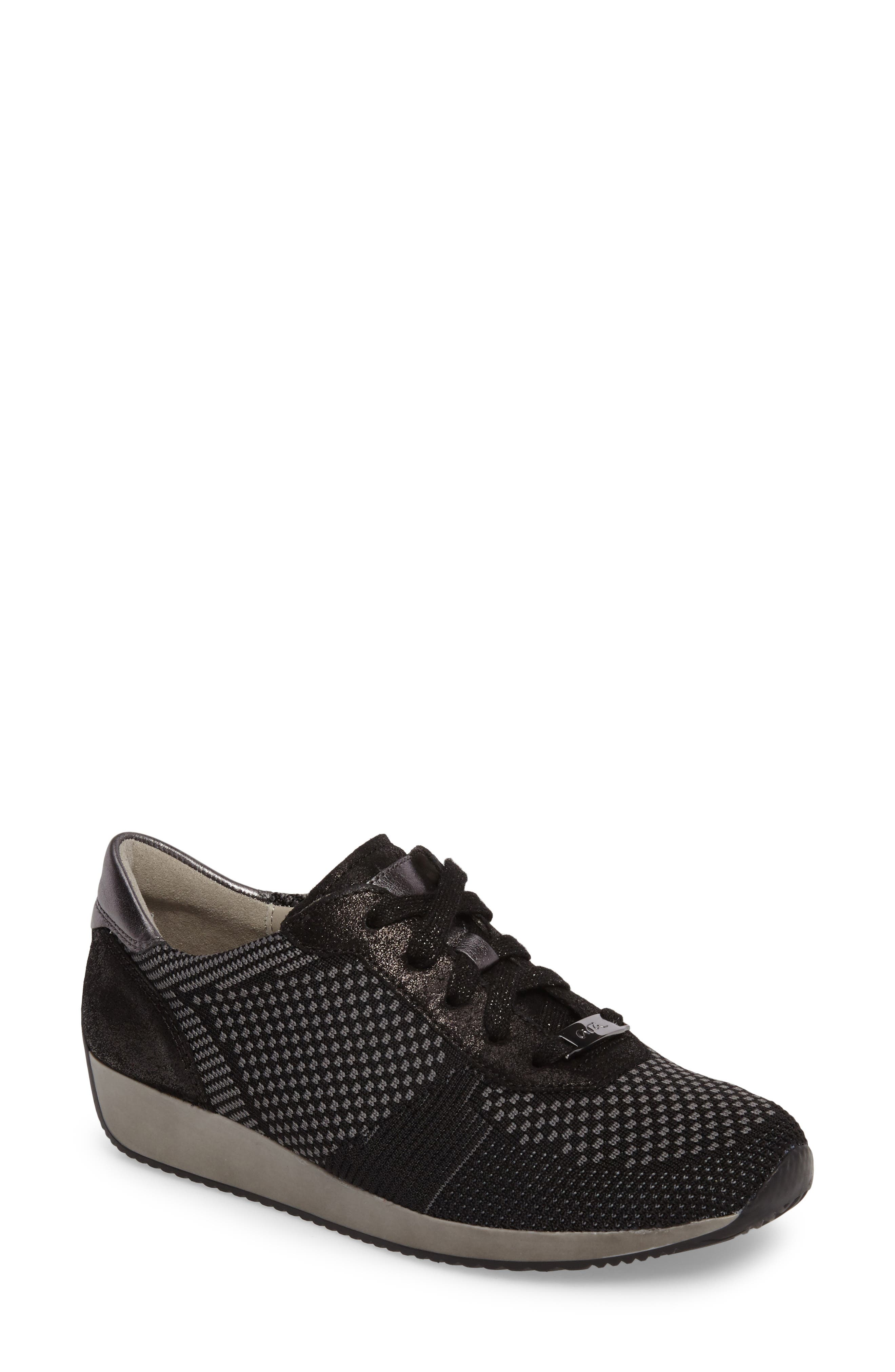 Lilly Sneaker,                             Main thumbnail 1, color,                             Black Leather