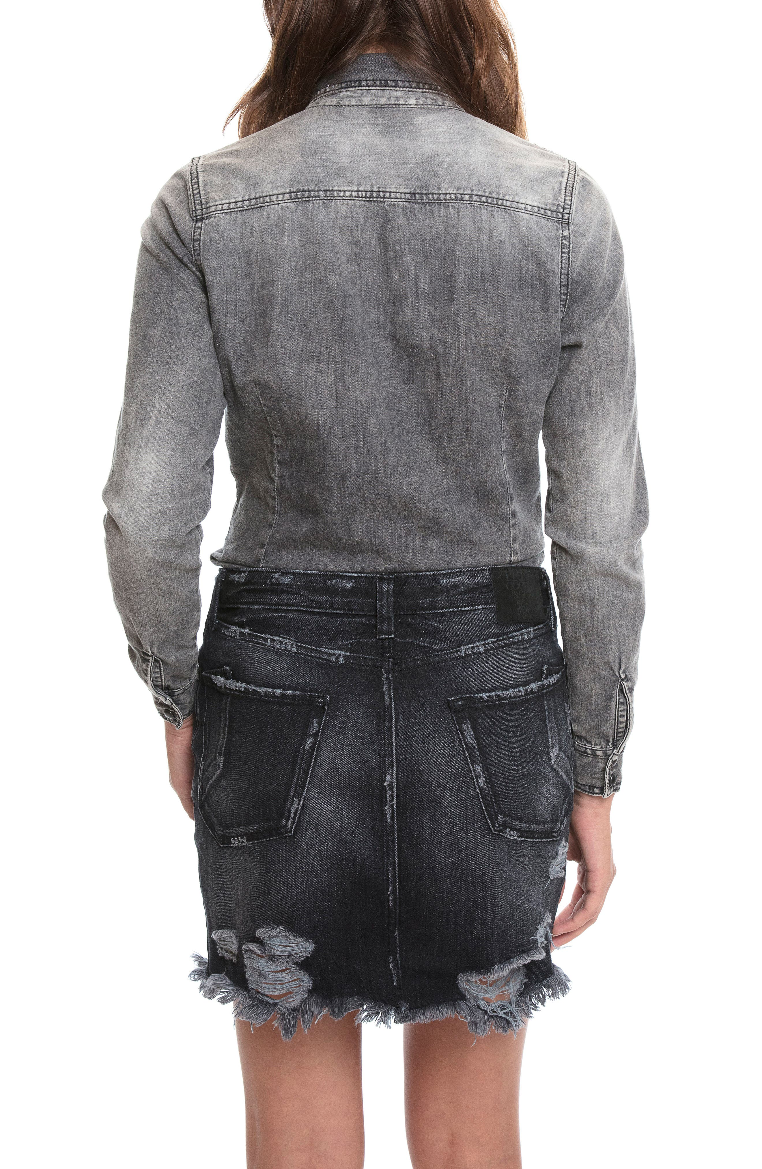 Mixed Media Denim Shirtdress,                             Alternate thumbnail 3, color,                             Black