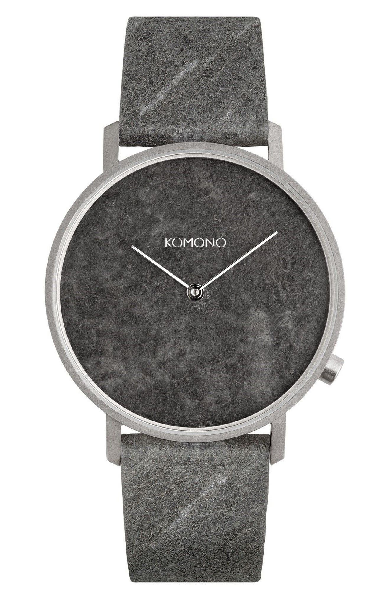 Main Image - Komono The Lewis Slate Leather Strap Watch, 40mm