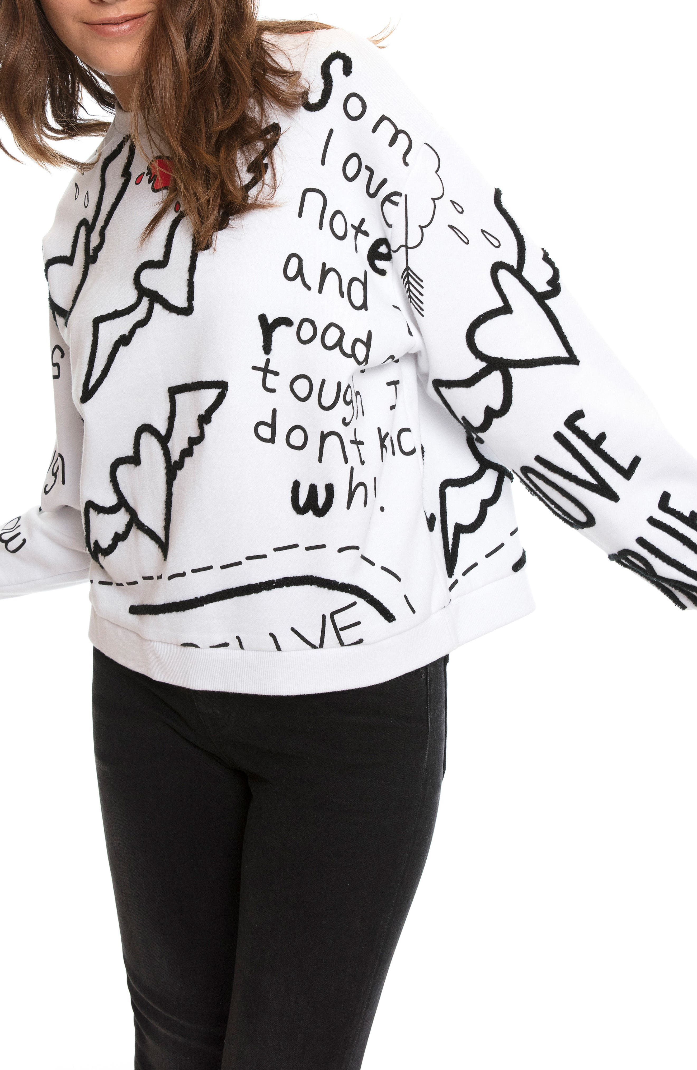Love Note Sweatshirt,                         Main,                         color, White