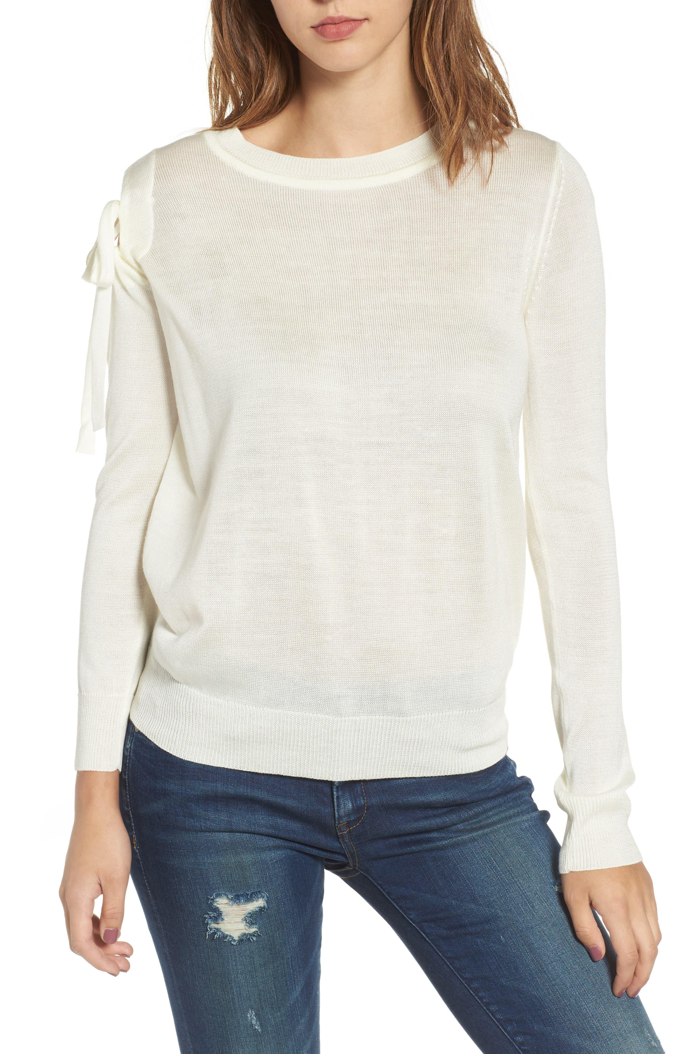 Cutout Sweatshirt,                             Main thumbnail 1, color,                             White