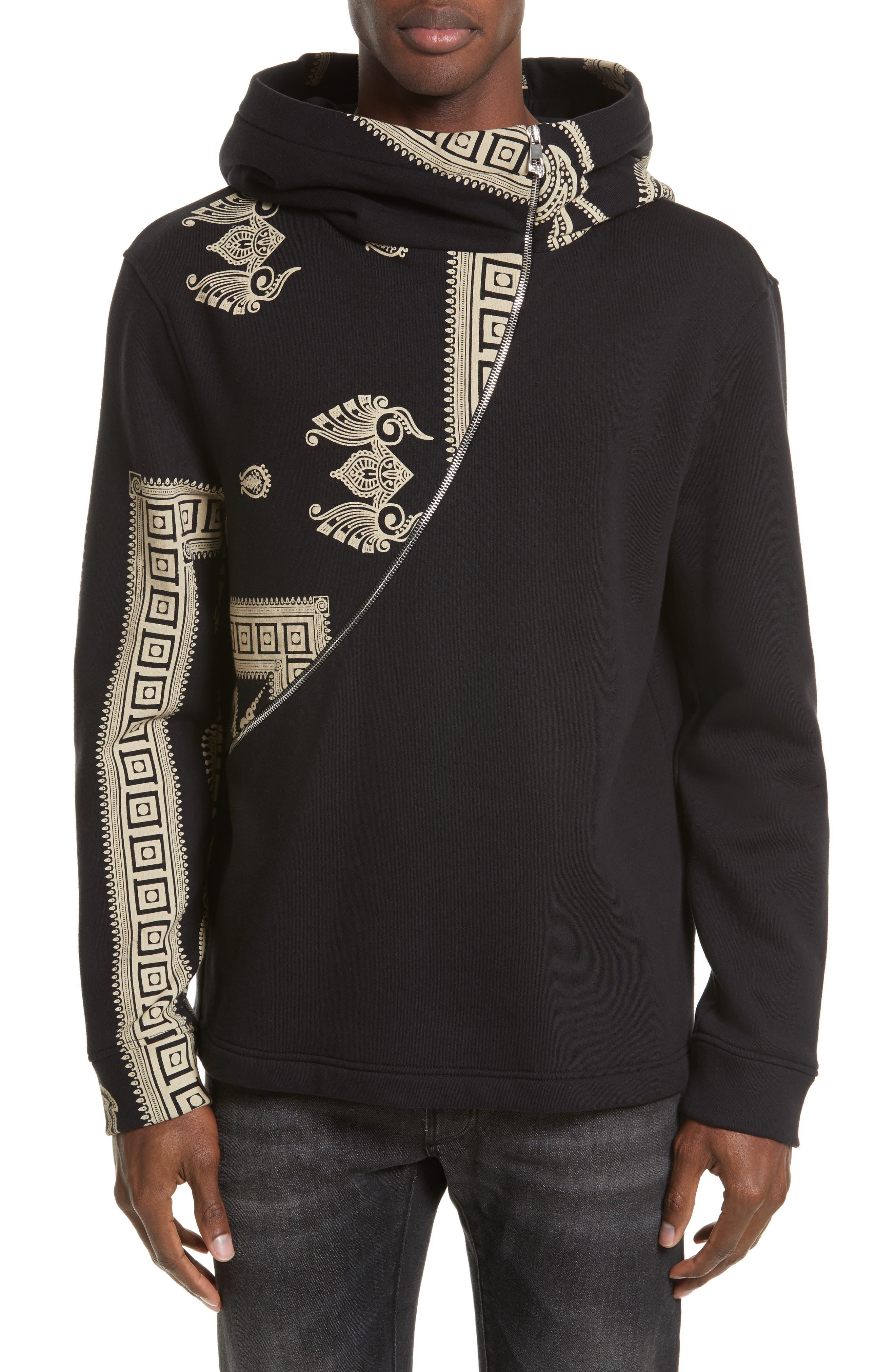 Versace Collection Oversize Asymmetrical Zip Hoodie
