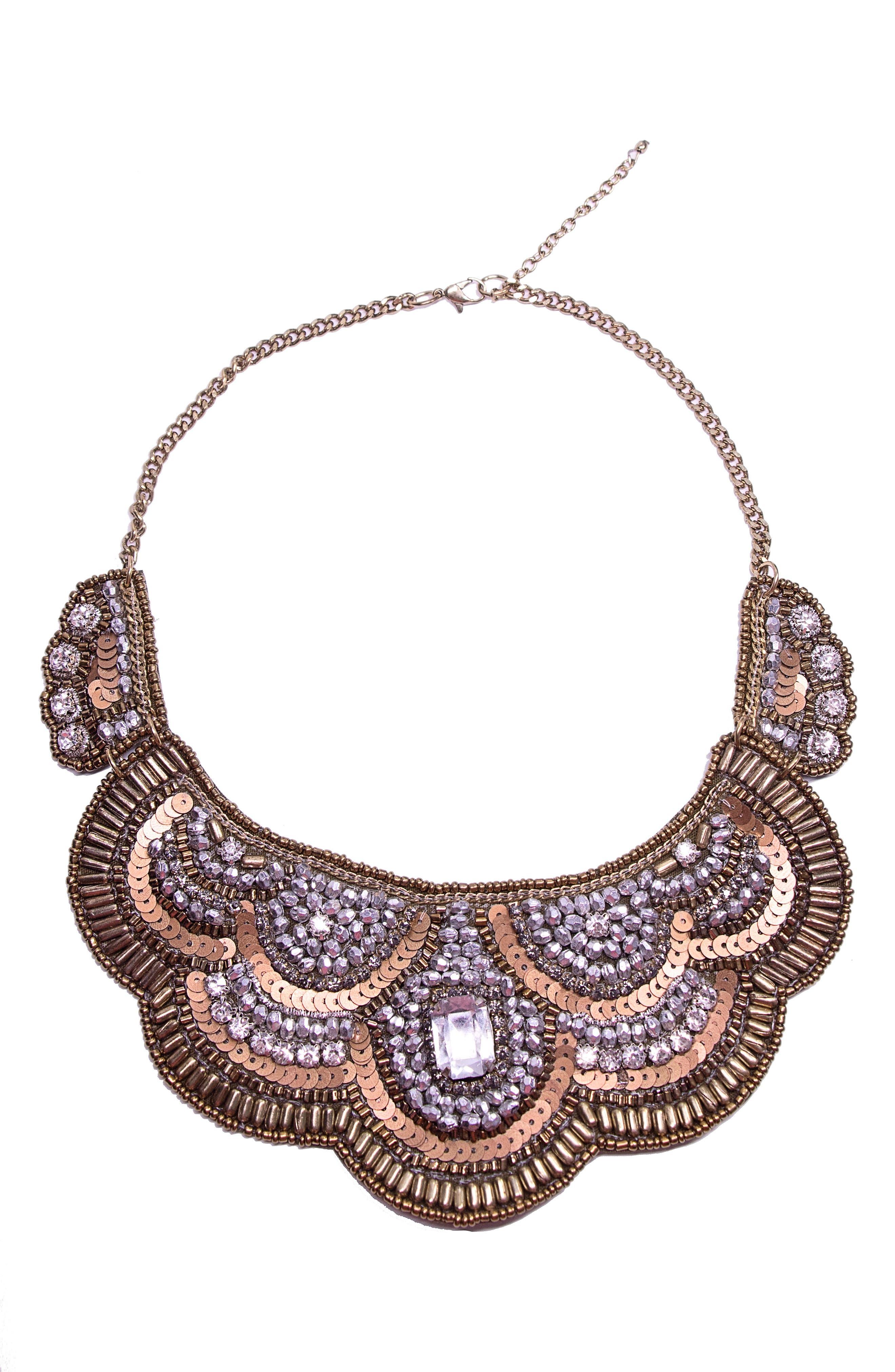 Bette Bib Necklace,                         Main,                         color, Gold