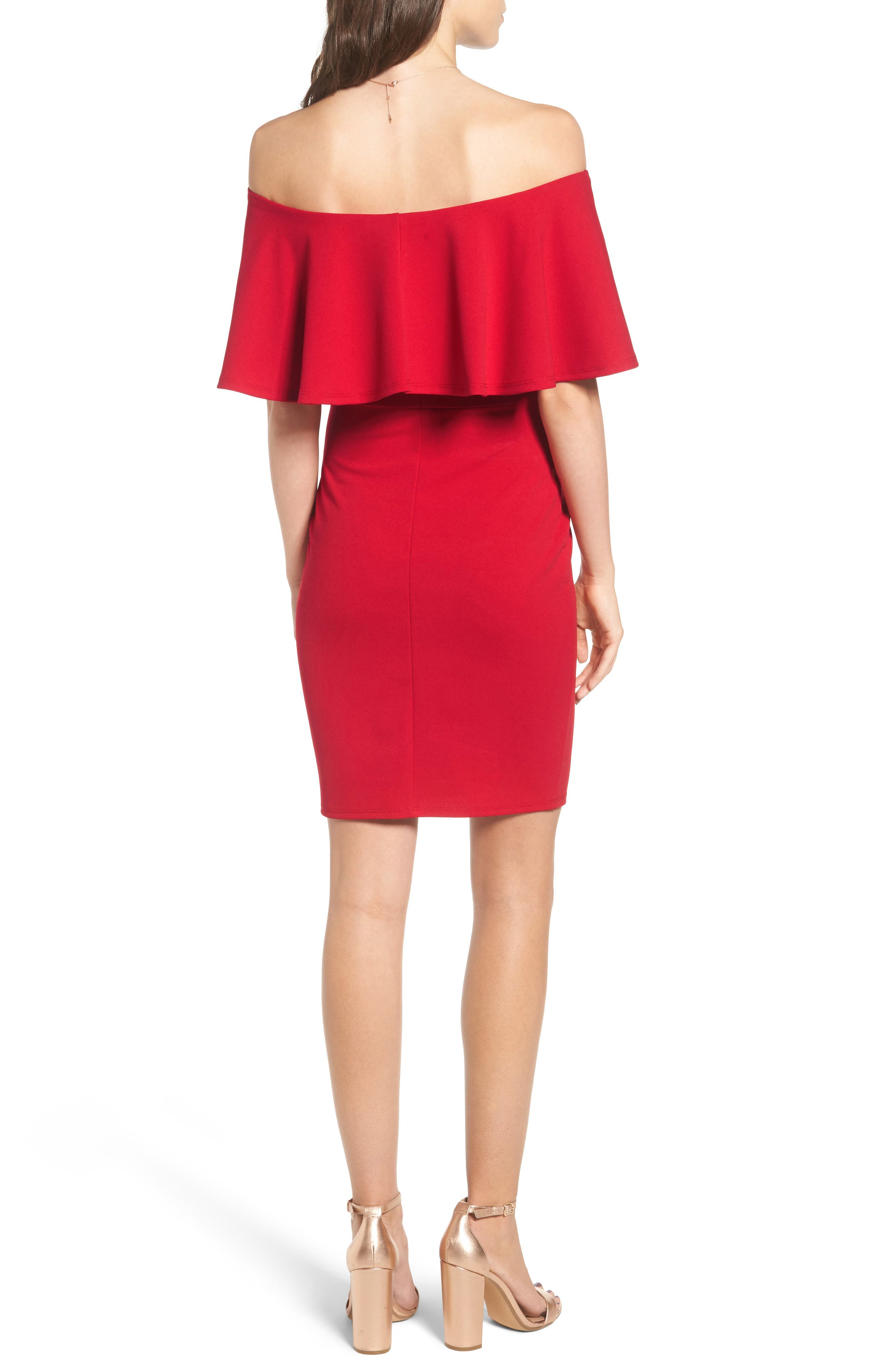 Ruffle Off the Shoulder Body-Con Dress,                             Alternate thumbnail 7, color,                             African Red