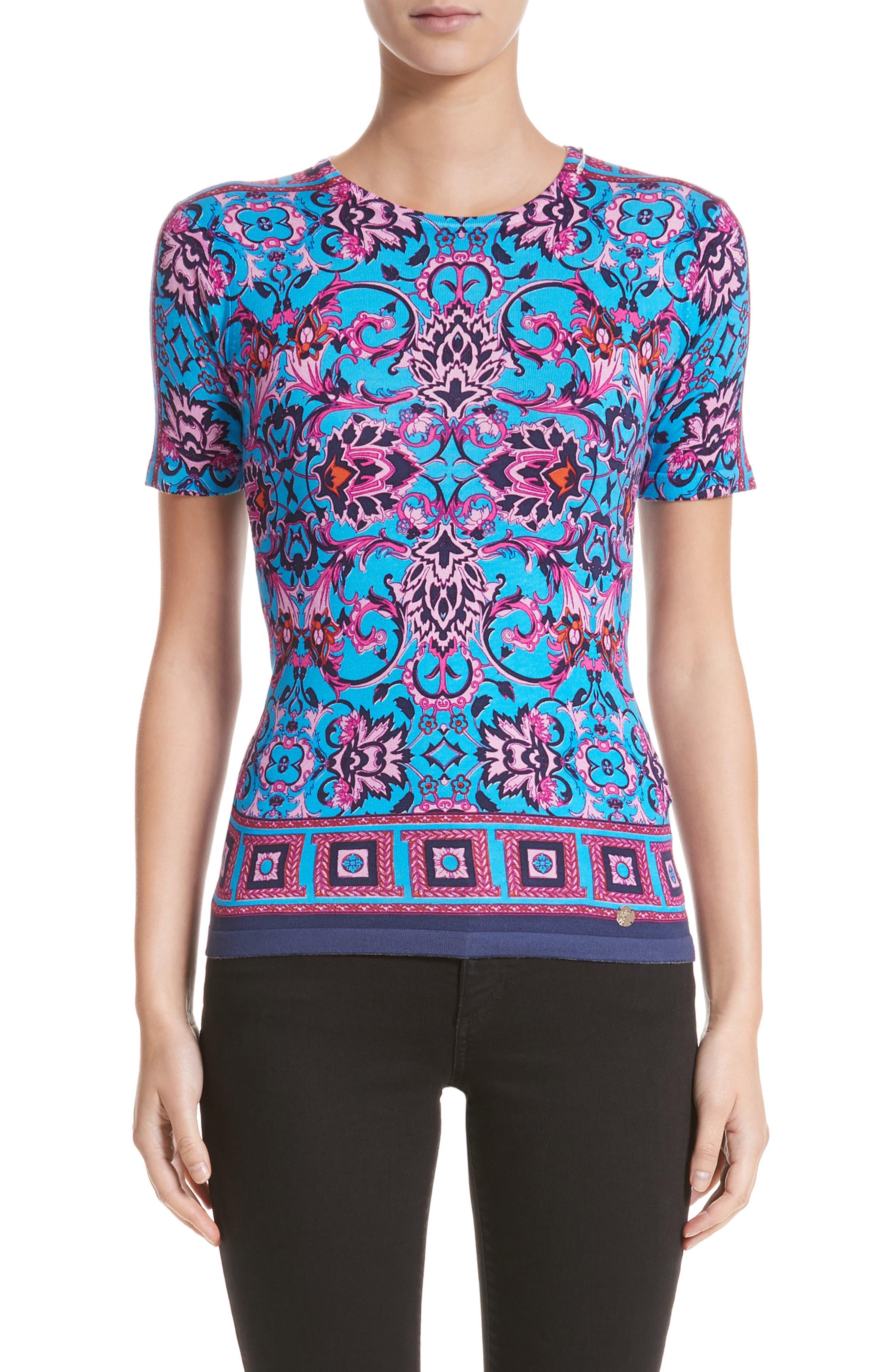 Main Image - Versace Collection Print Silk Blend Top