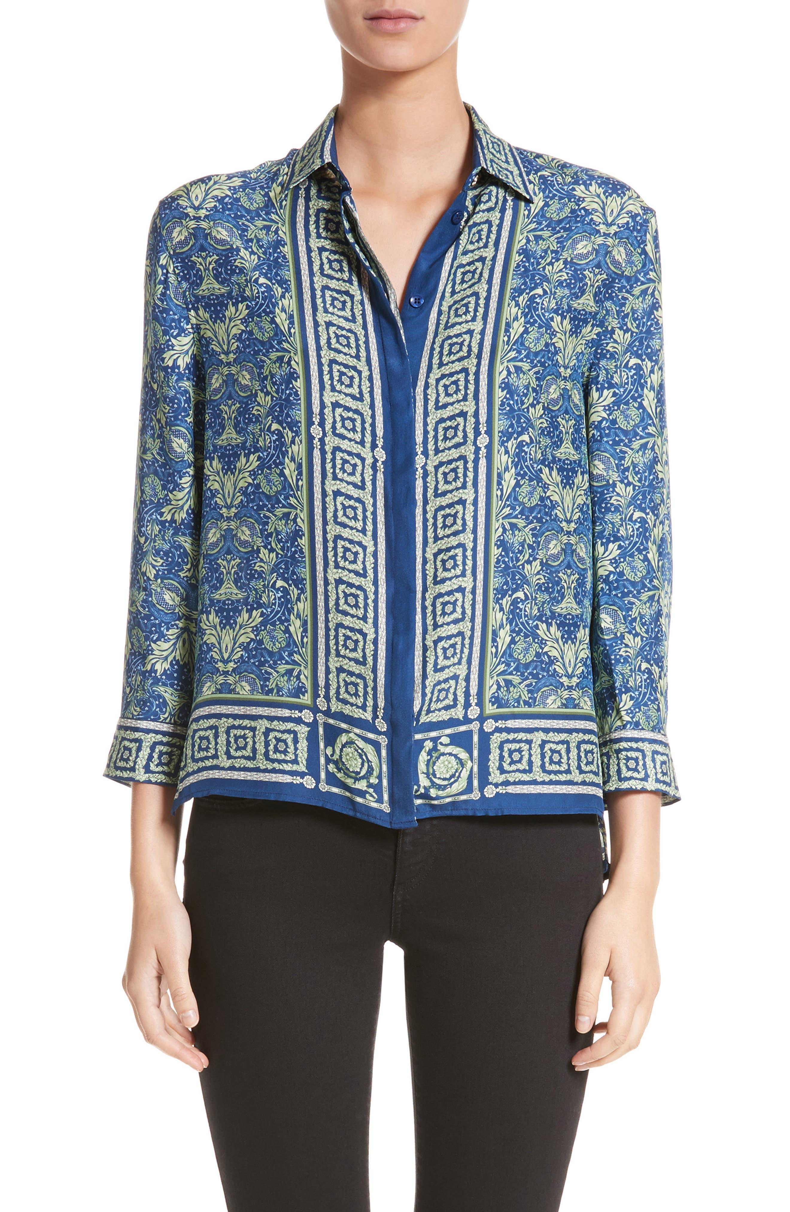 Acanthus Print Silk Blouse,                         Main,                         color, Electric Blue/ Print