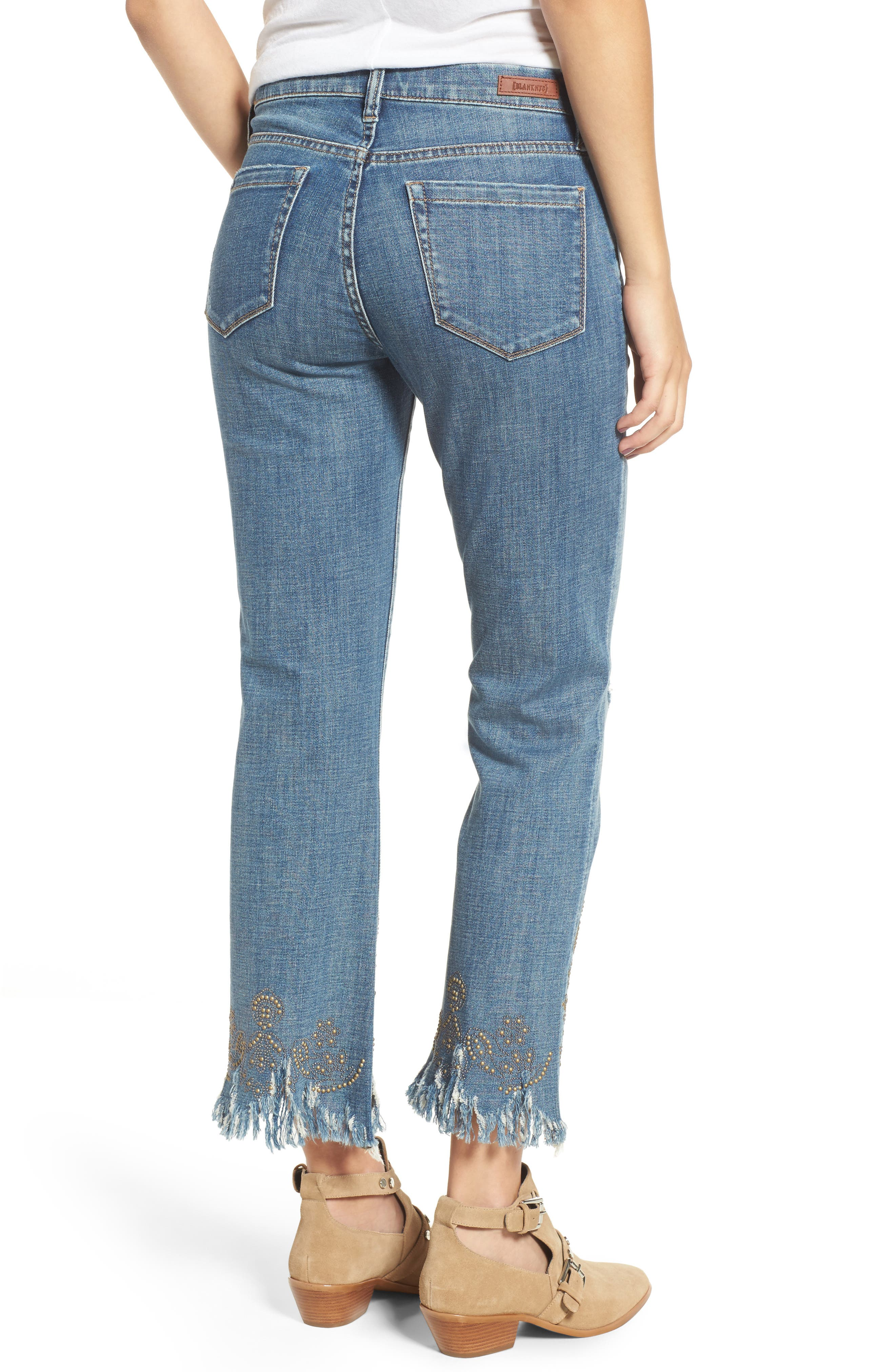 Studded Crop Flare Jeans,                             Alternate thumbnail 2, color,                             Miss Matched Blue