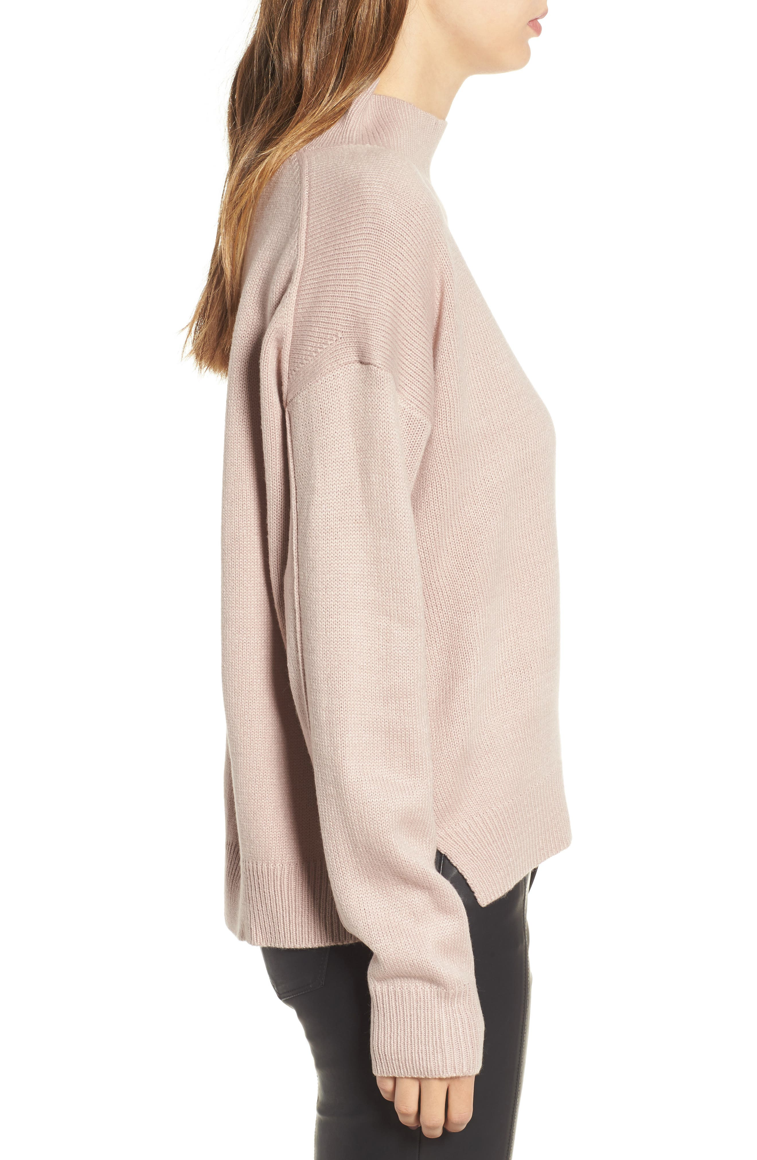 Oversize Sweater,                             Alternate thumbnail 3, color,                             Pink