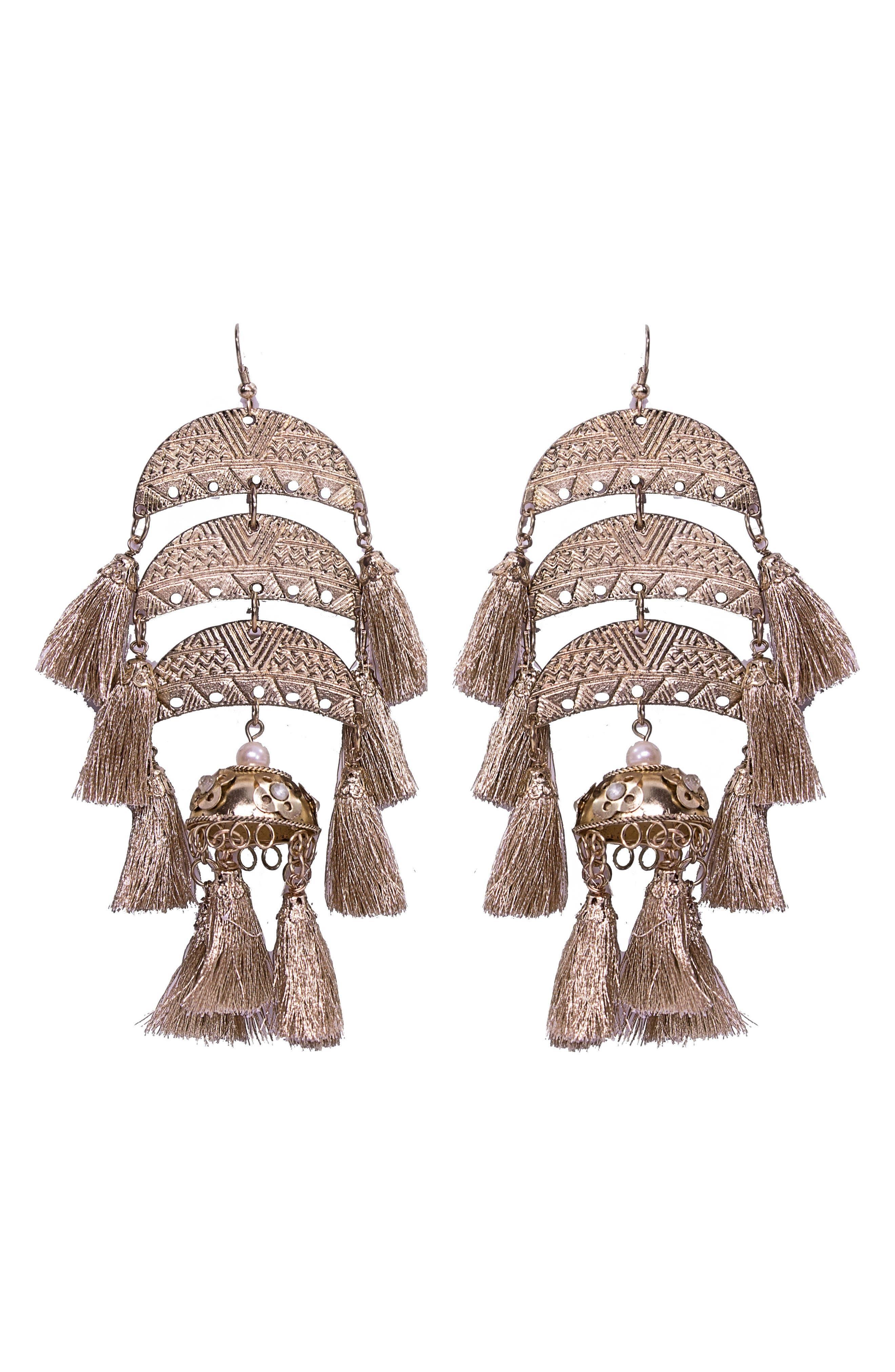 Goa Tassel Drop Earrings,                         Main,                         color, Gold