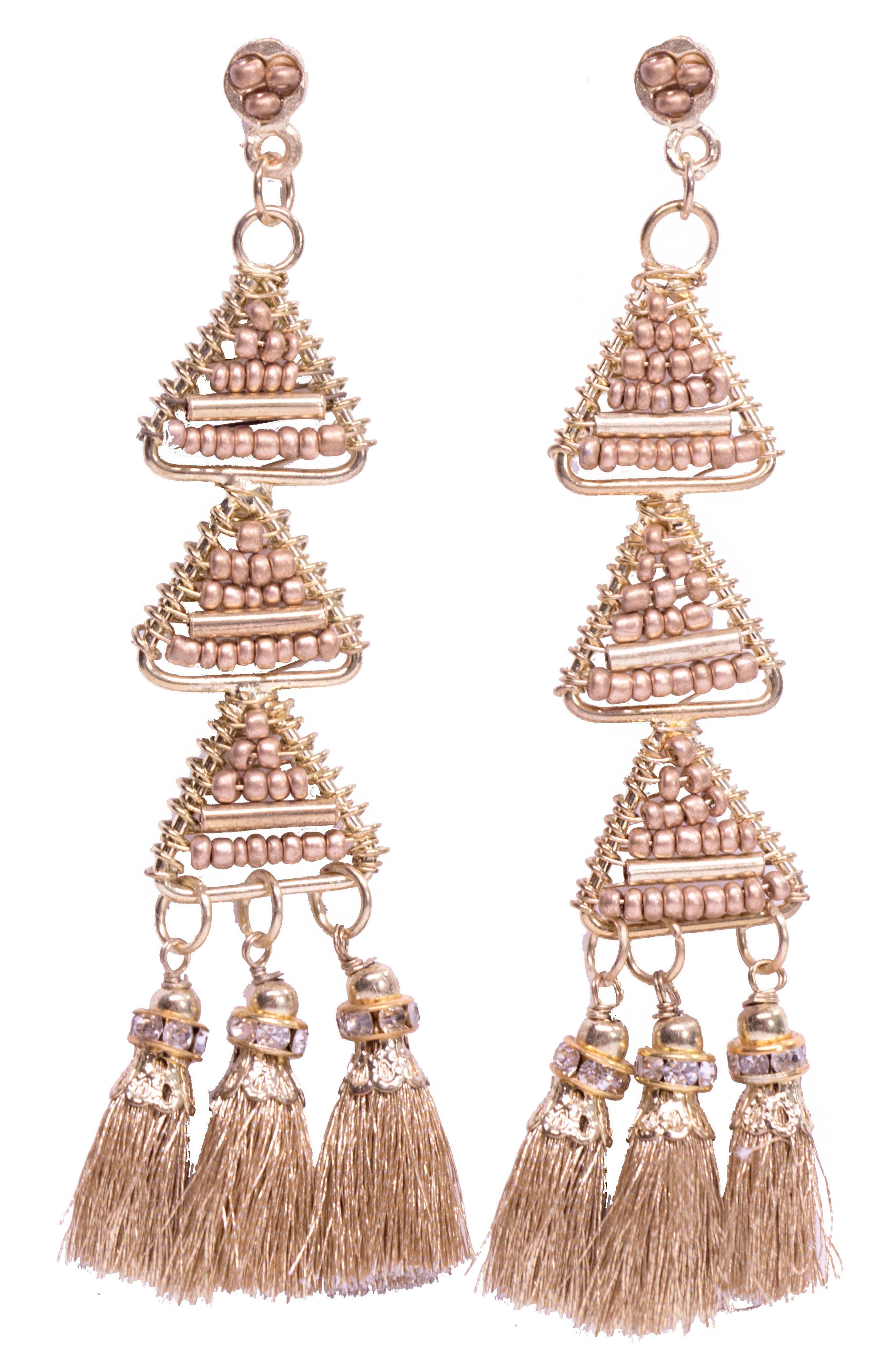 Pia Pyramid Tassel Earrings,                         Main,                         color, Gold