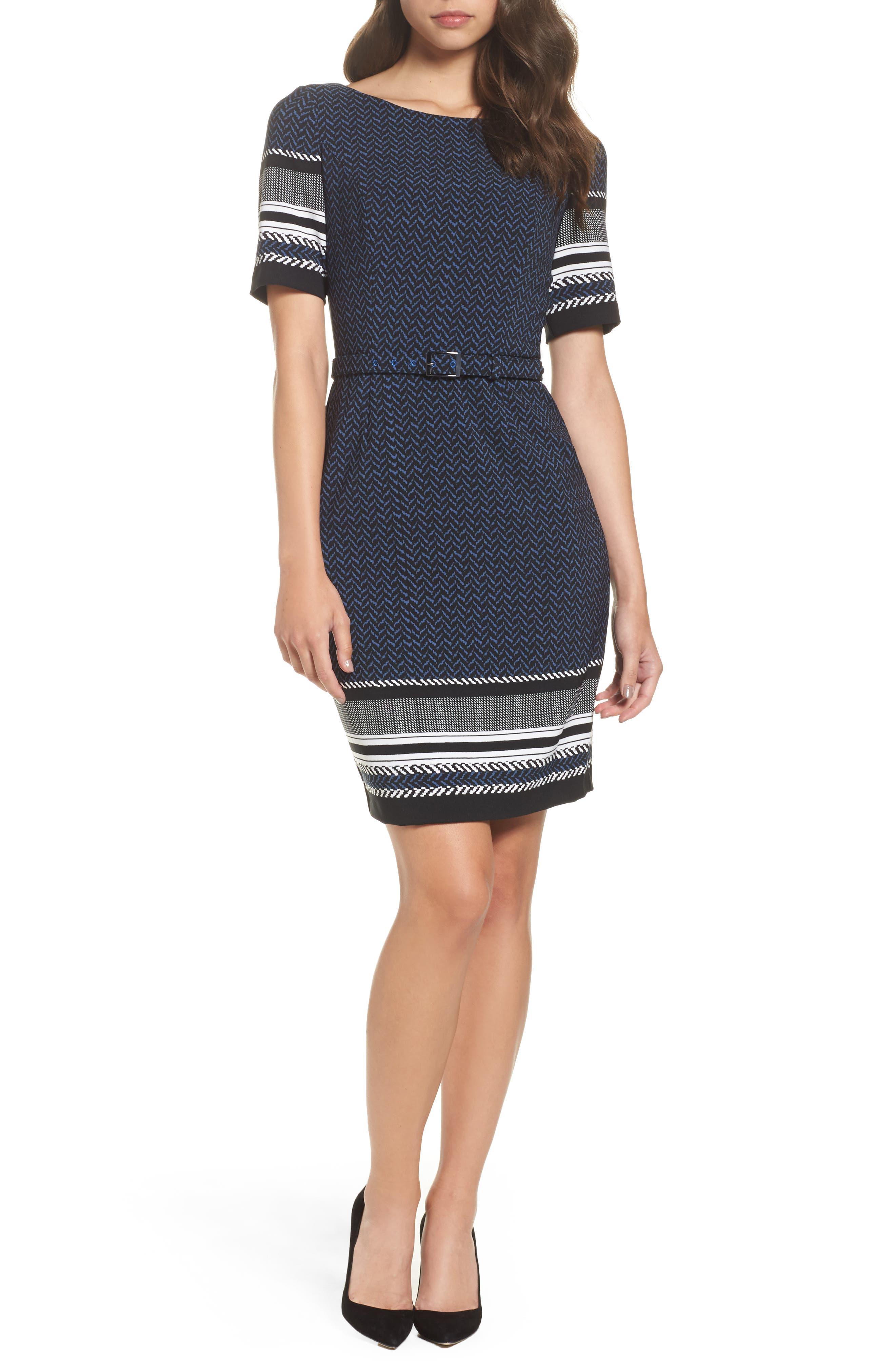 Mixed Herringbone Sheath Dress,                         Main,                         color, Blue/ Black Multi