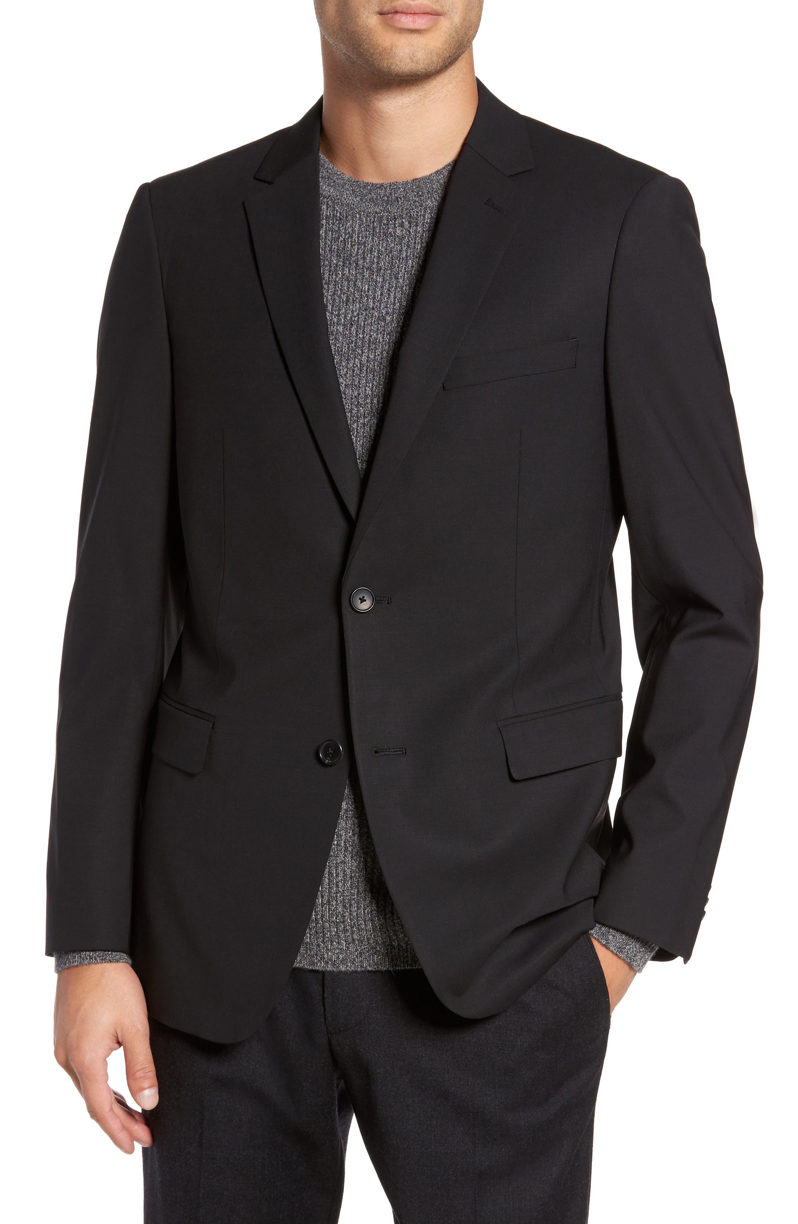 'Wellar New Tailor' Trim Fit Wool Blend Sport Coat,                         Main,                         color, Black