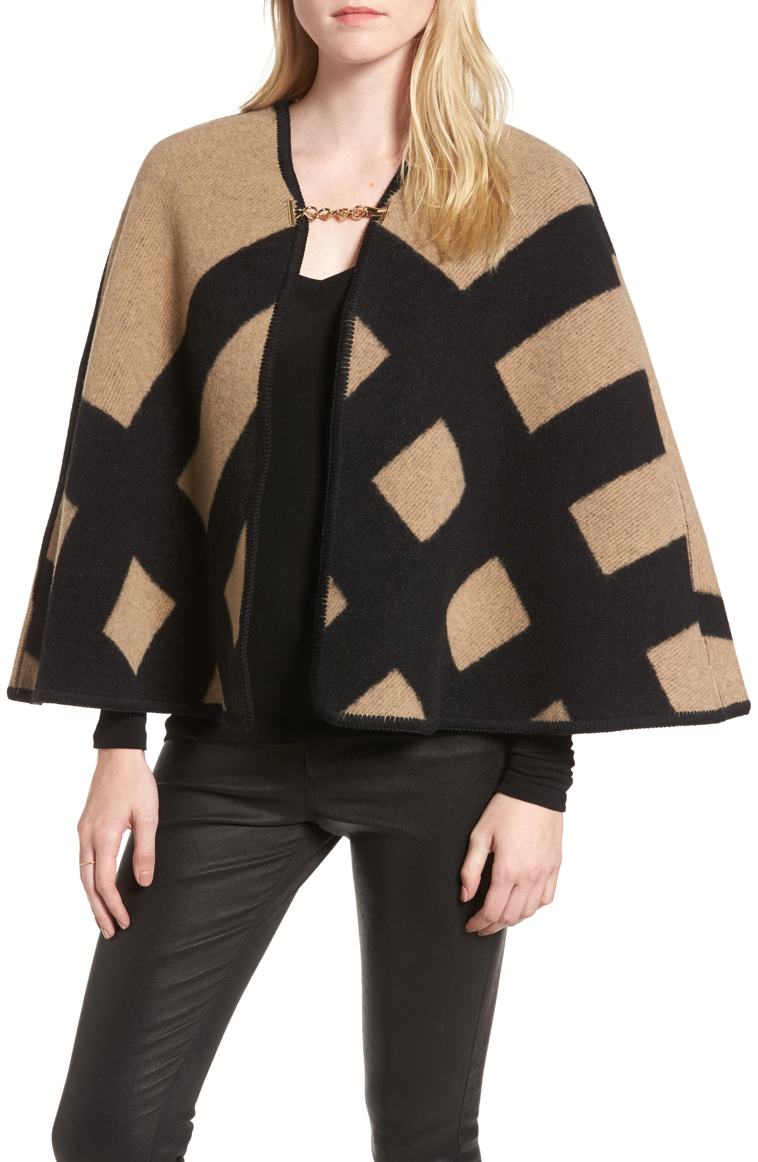 Blanket Check Wool & Cashmere Poncho,                             Main thumbnail 1, color,                             Camel/ Black