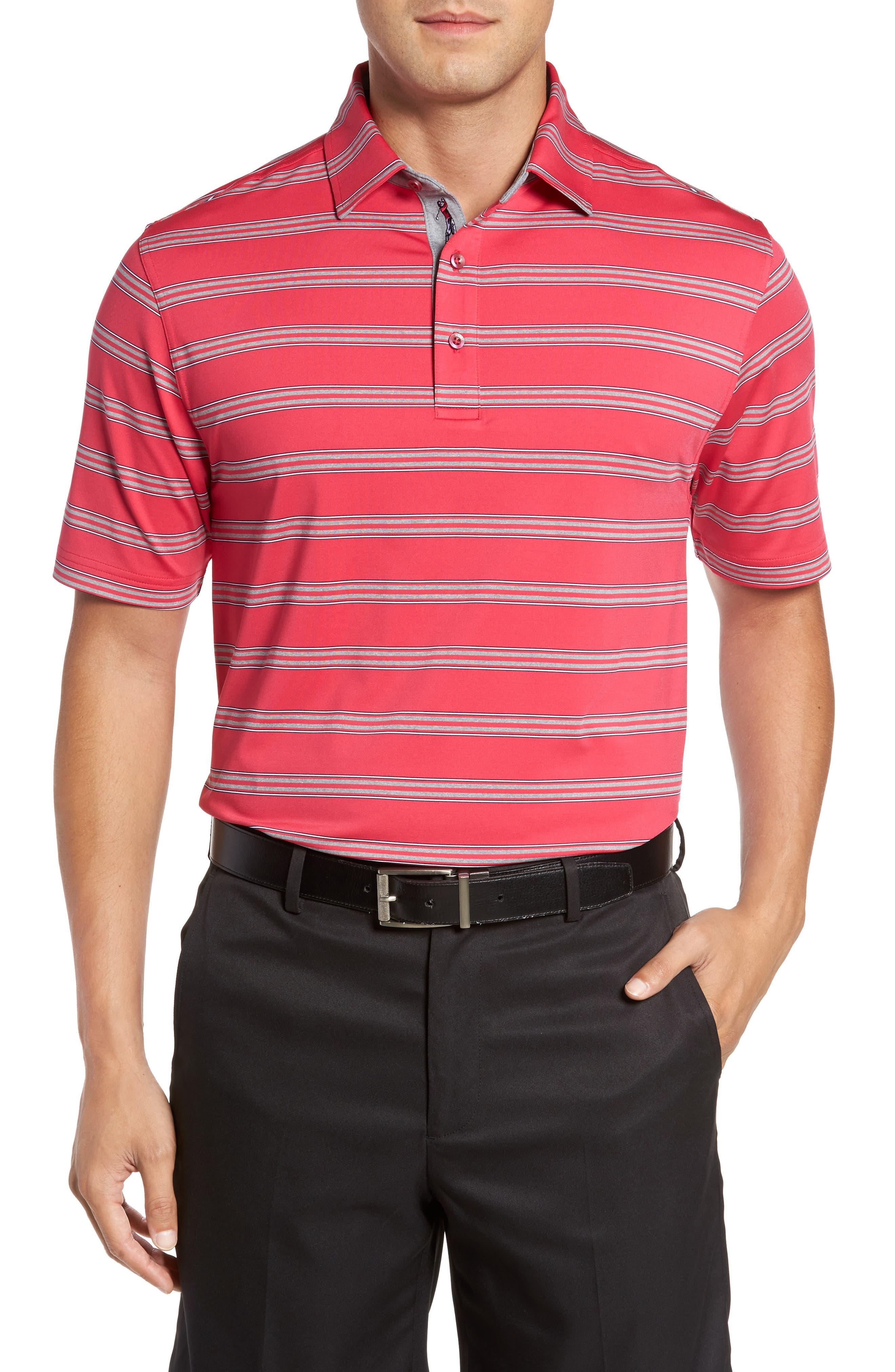 XH2O Wren Heather Stripe Polo,                         Main,                         color, Pompei Pink