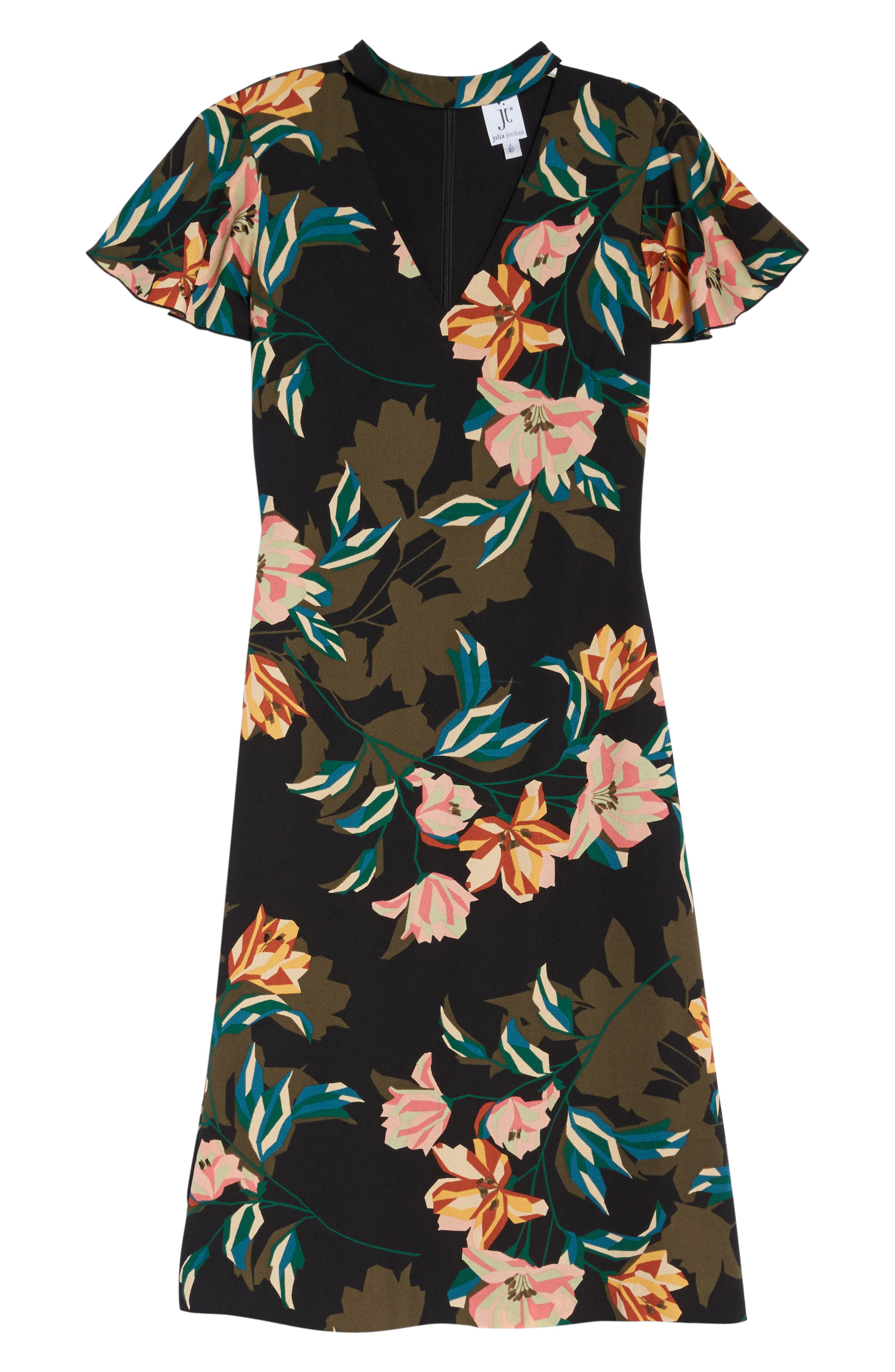 Alternate Image 6  - Julia Jordan Print Choker Collar Midi Dress