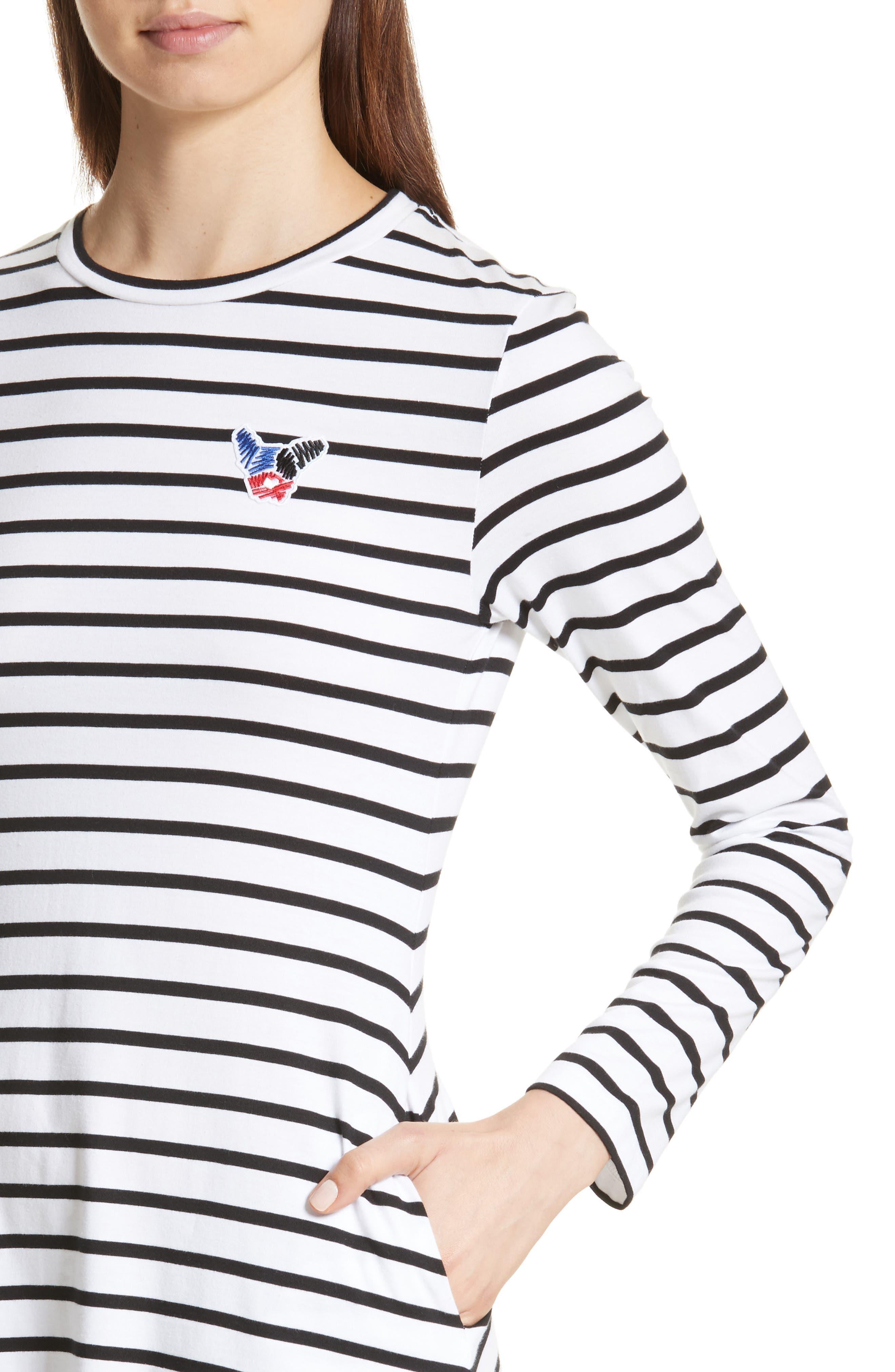 être cécile Scribble Dog Stripe T-Shirt Dress,                             Alternate thumbnail 5, color,                             Black Breton Stripe