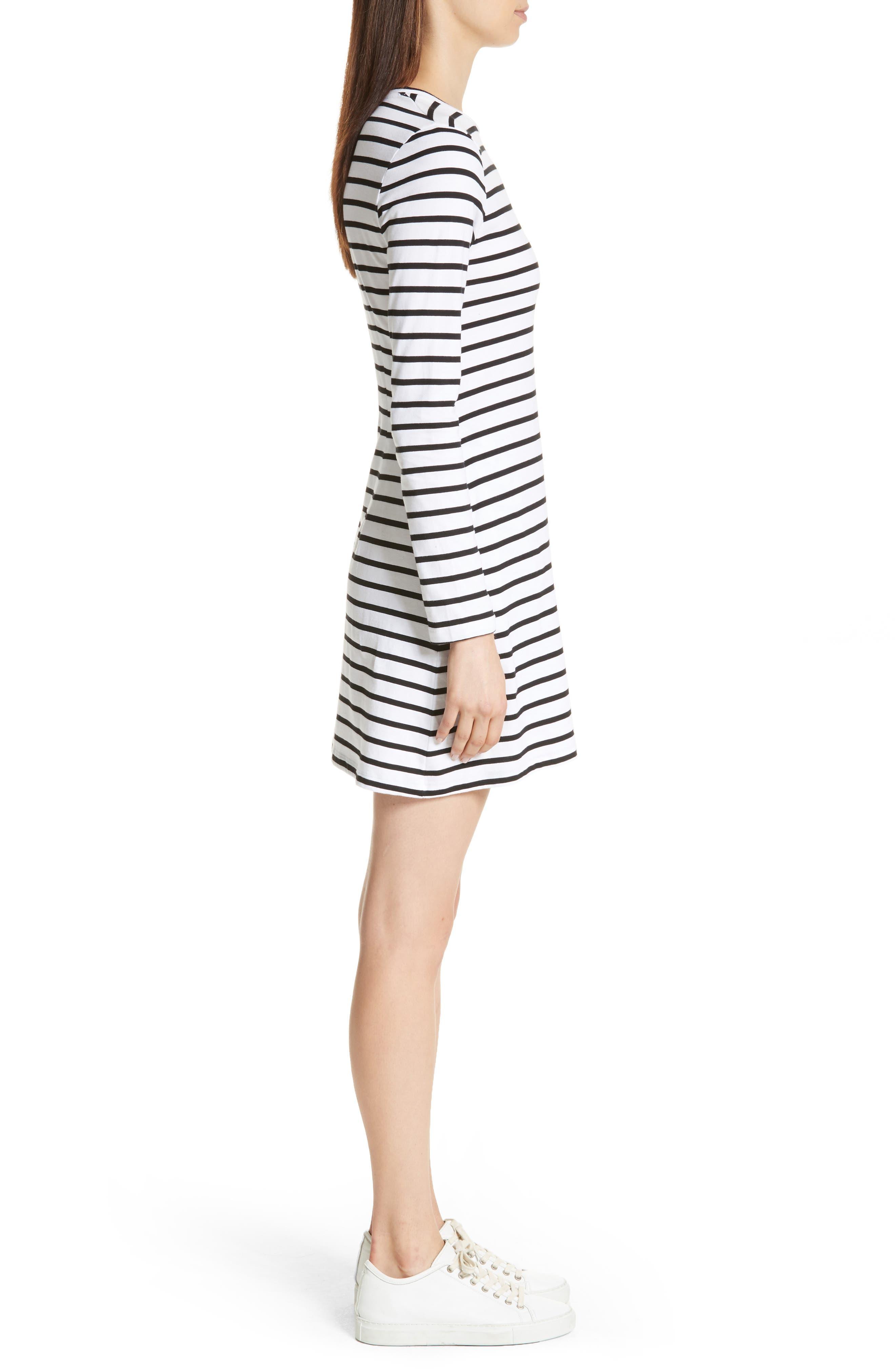 être cécile Scribble Dog Stripe T-Shirt Dress,                             Alternate thumbnail 4, color,                             Black Breton Stripe