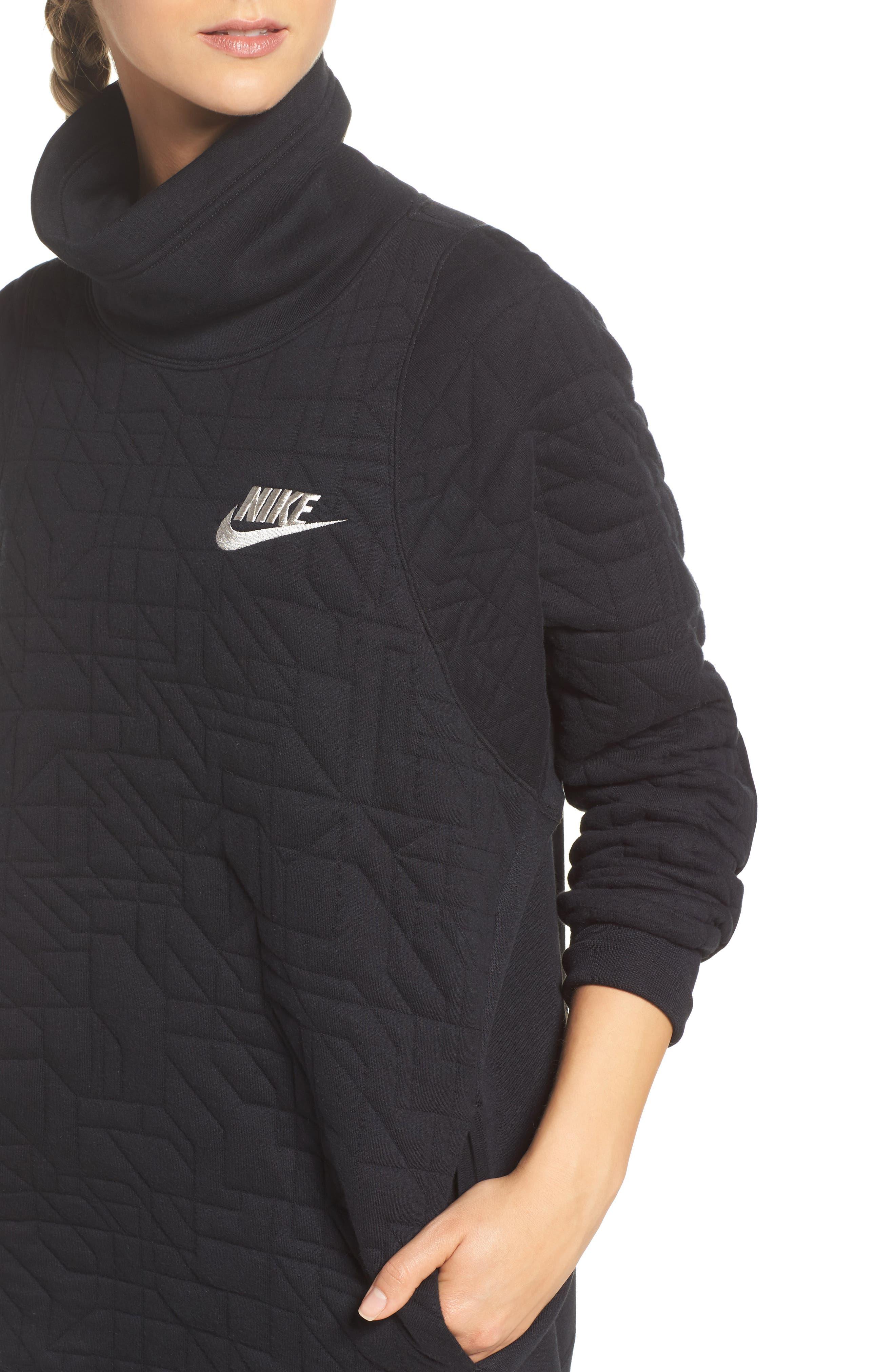 Sportswear Quilted Funnel Neck Pullover,                             Alternate thumbnail 4, color,                             Black/ Light Bone