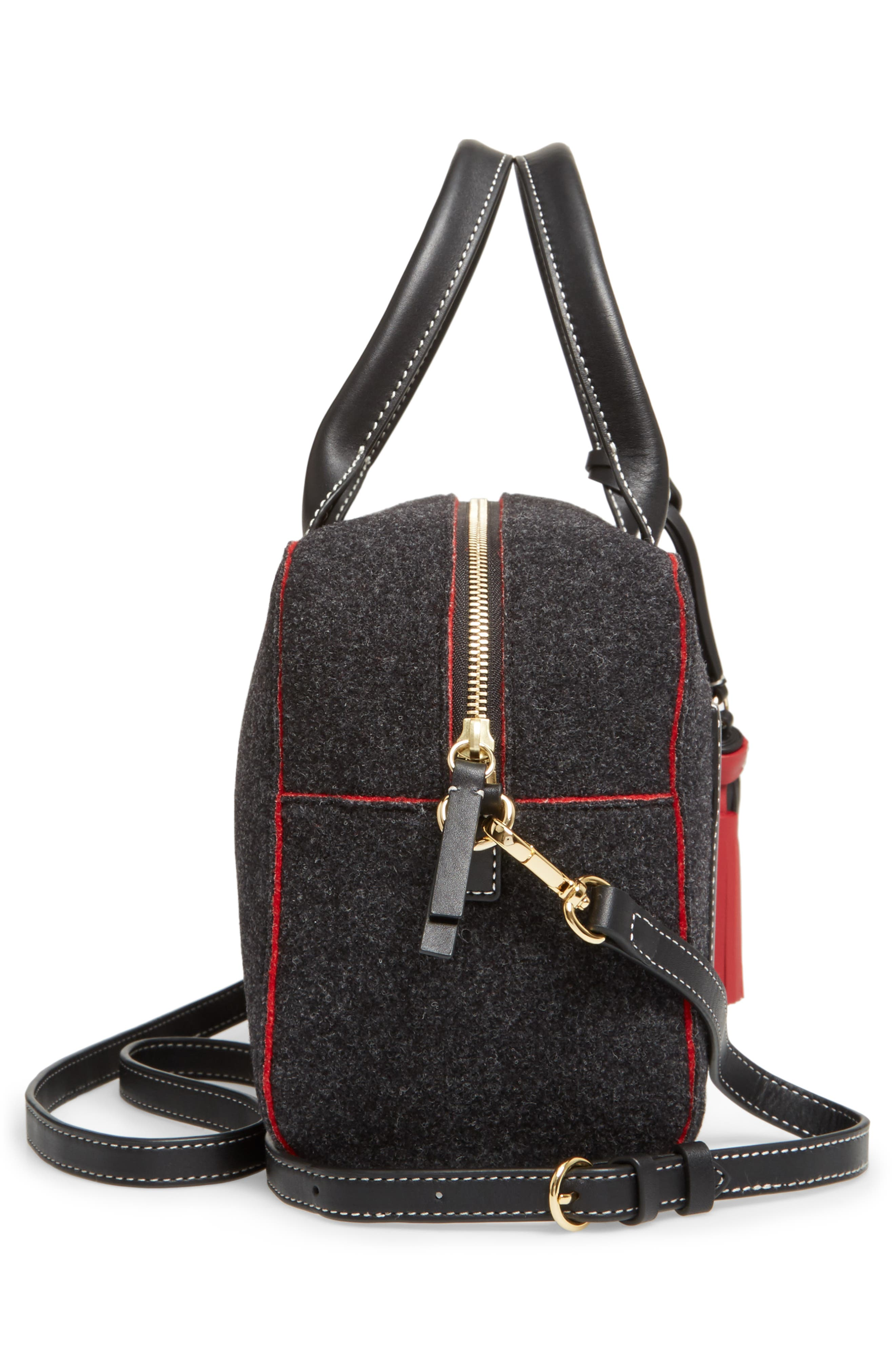 Medium Wool & Leather Satchel,                             Alternate thumbnail 4, color,                             Charcoal