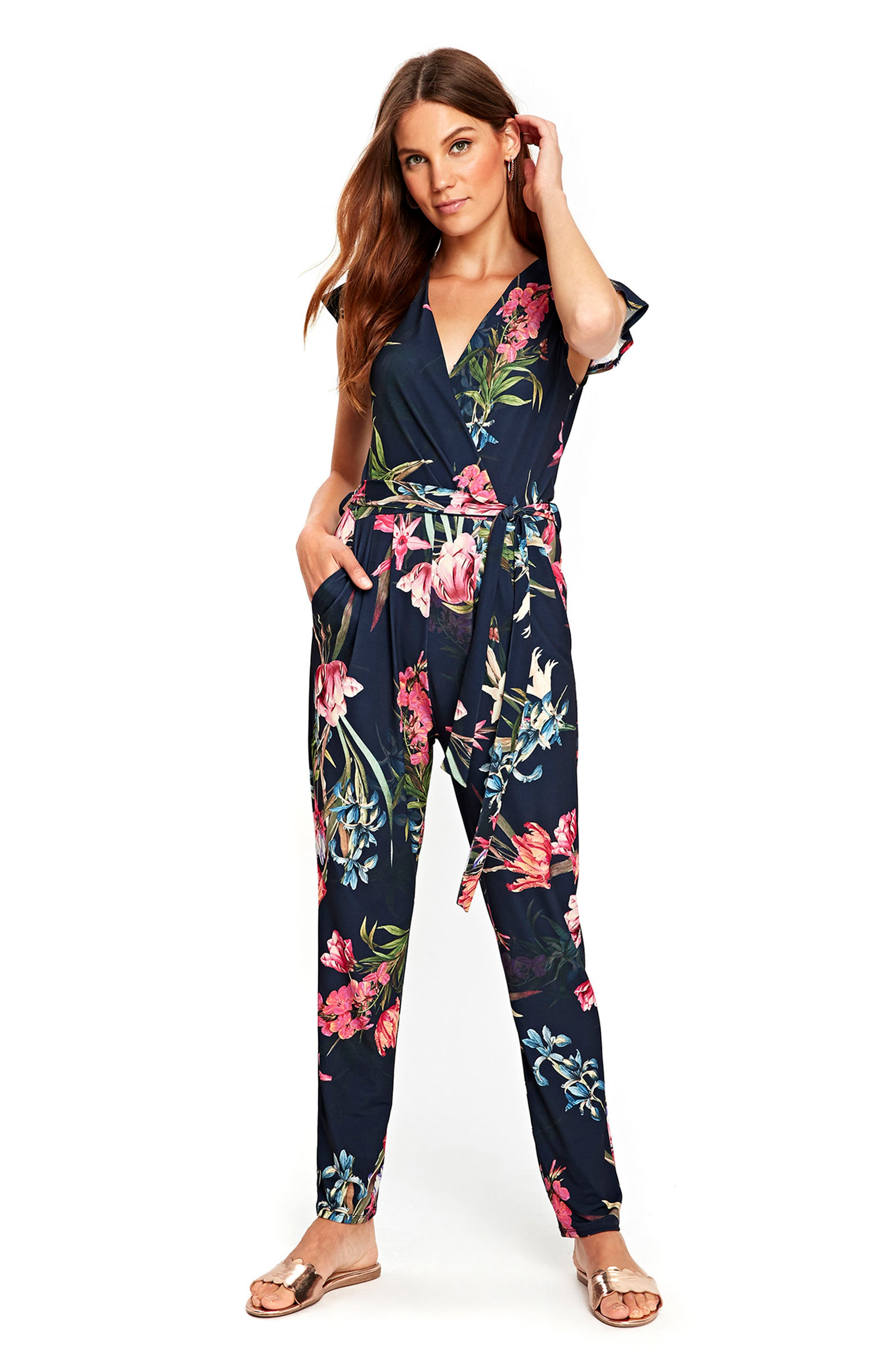 Tulip Blossom Jumpsuit,                             Alternate thumbnail 5, color,                             Navy