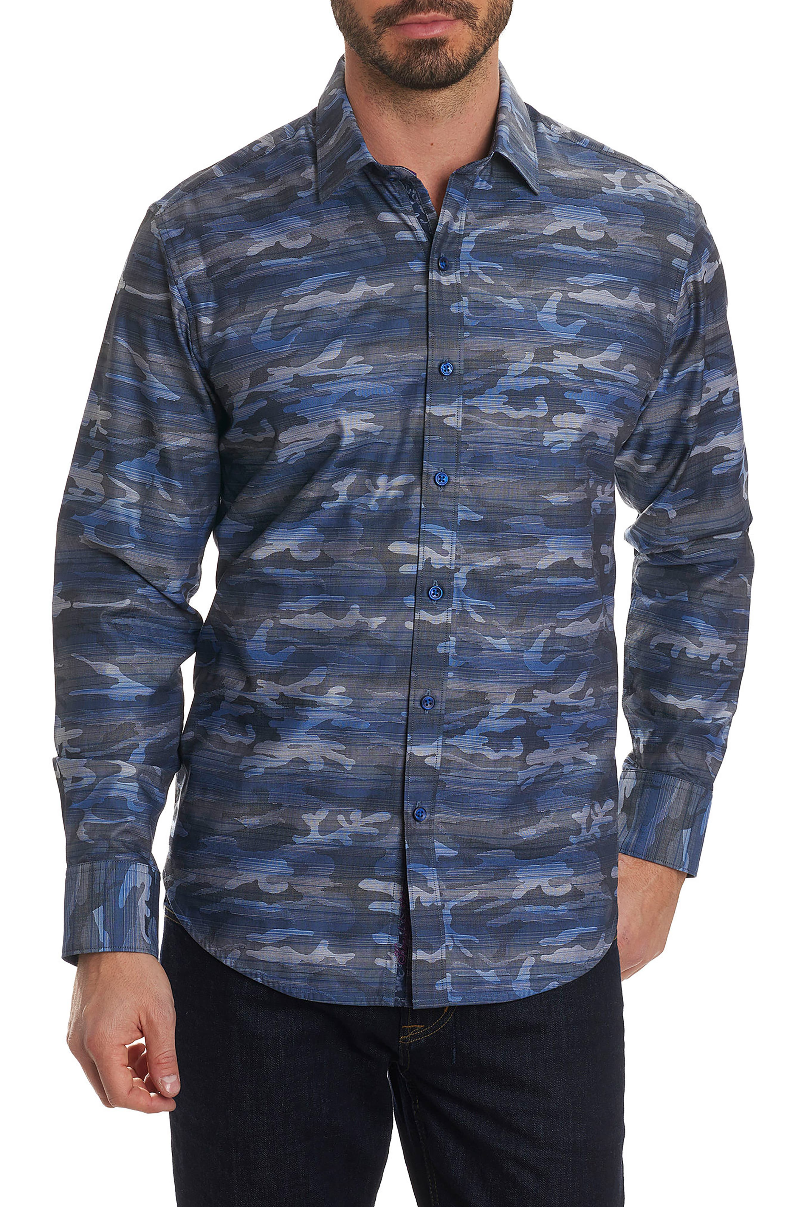 Tailored Fit Camo Sport Shirt,                         Main,                         color, Blue