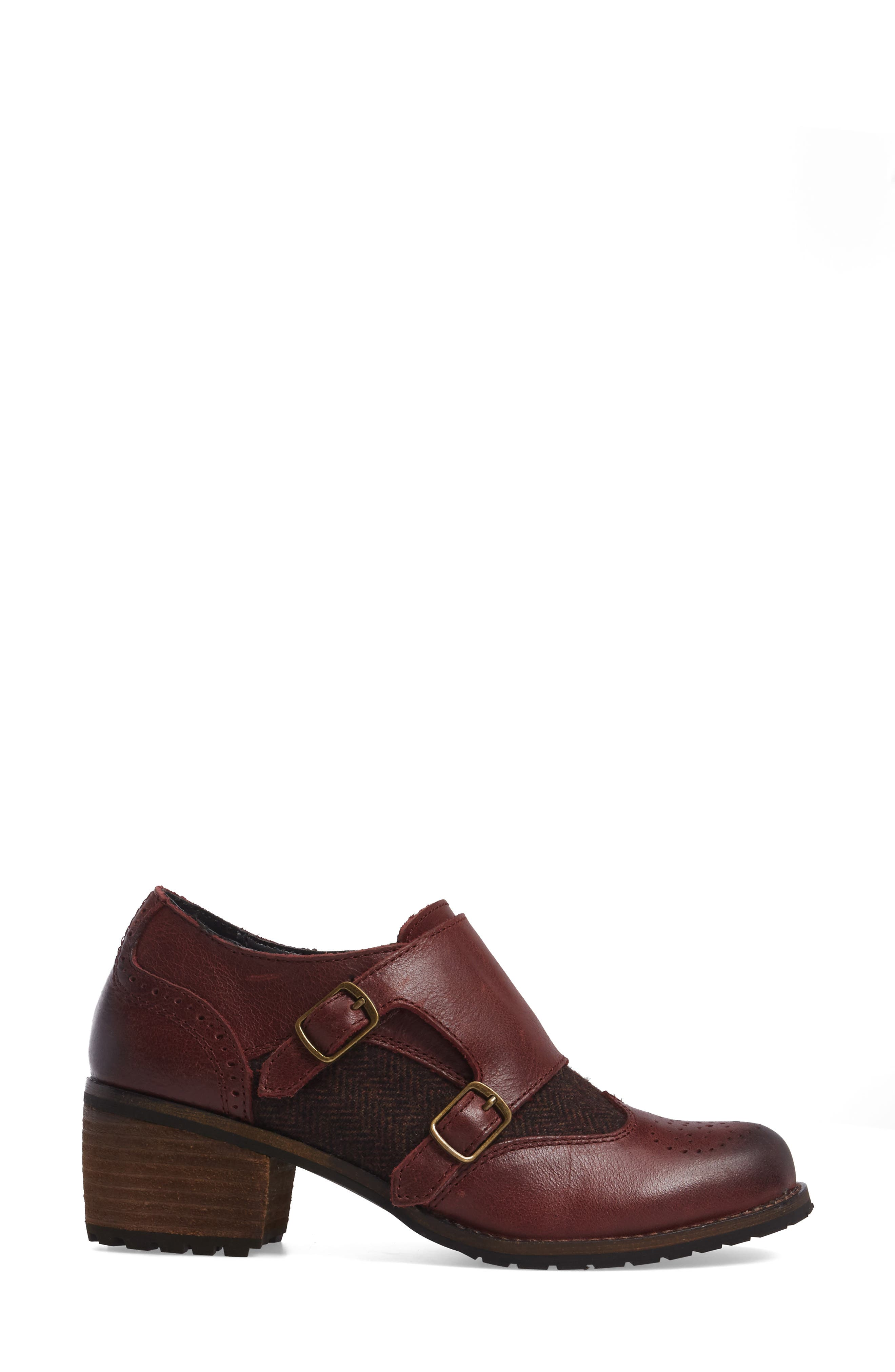 Dina Double Monk Strap Ankle Boot,                             Alternate thumbnail 3, color,                             Merlot Leather