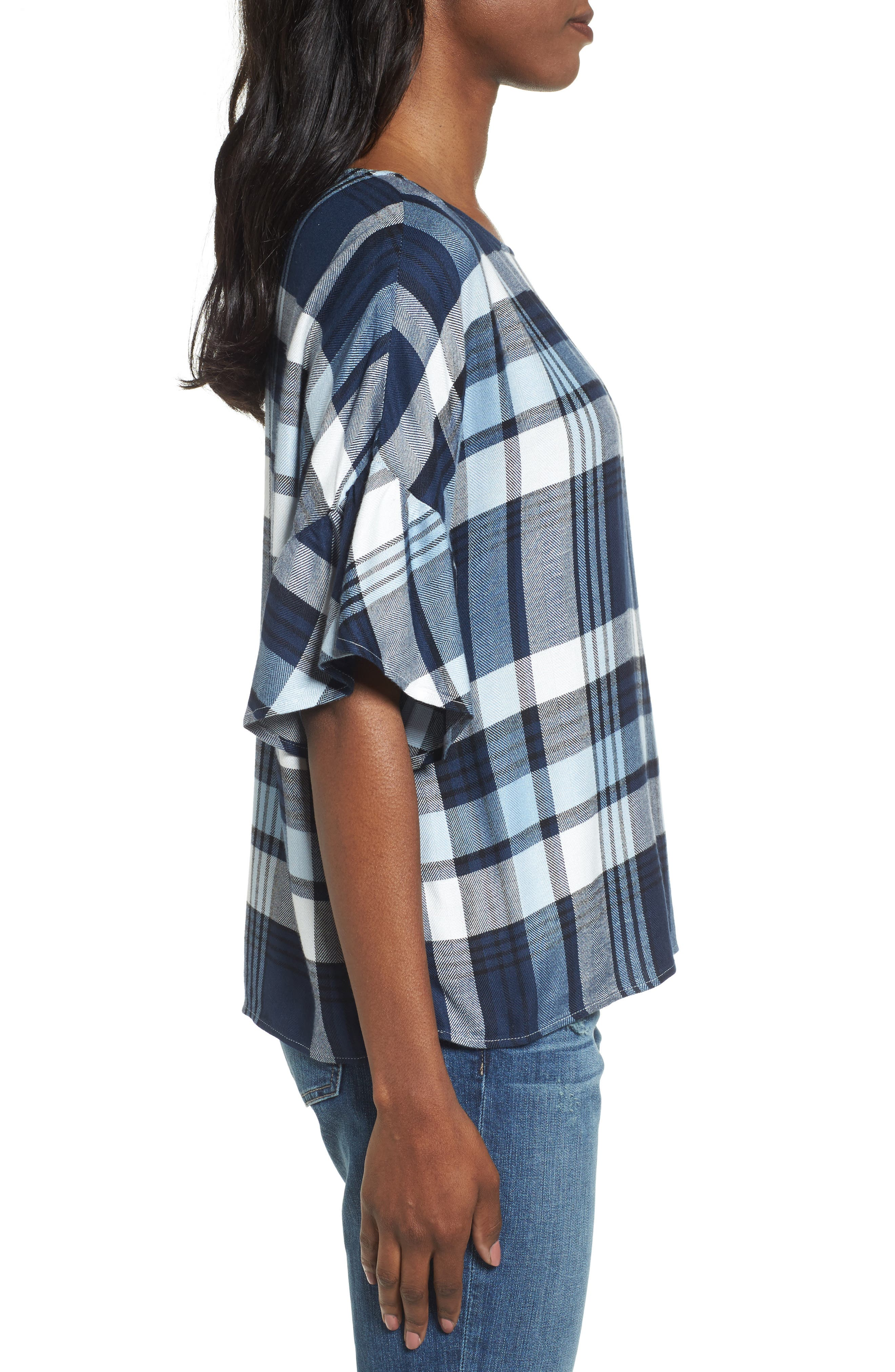 Alternate Image 3  - Two by Vince Camuto Ruffle Sleeve Plaid Top (Regular & Petite)