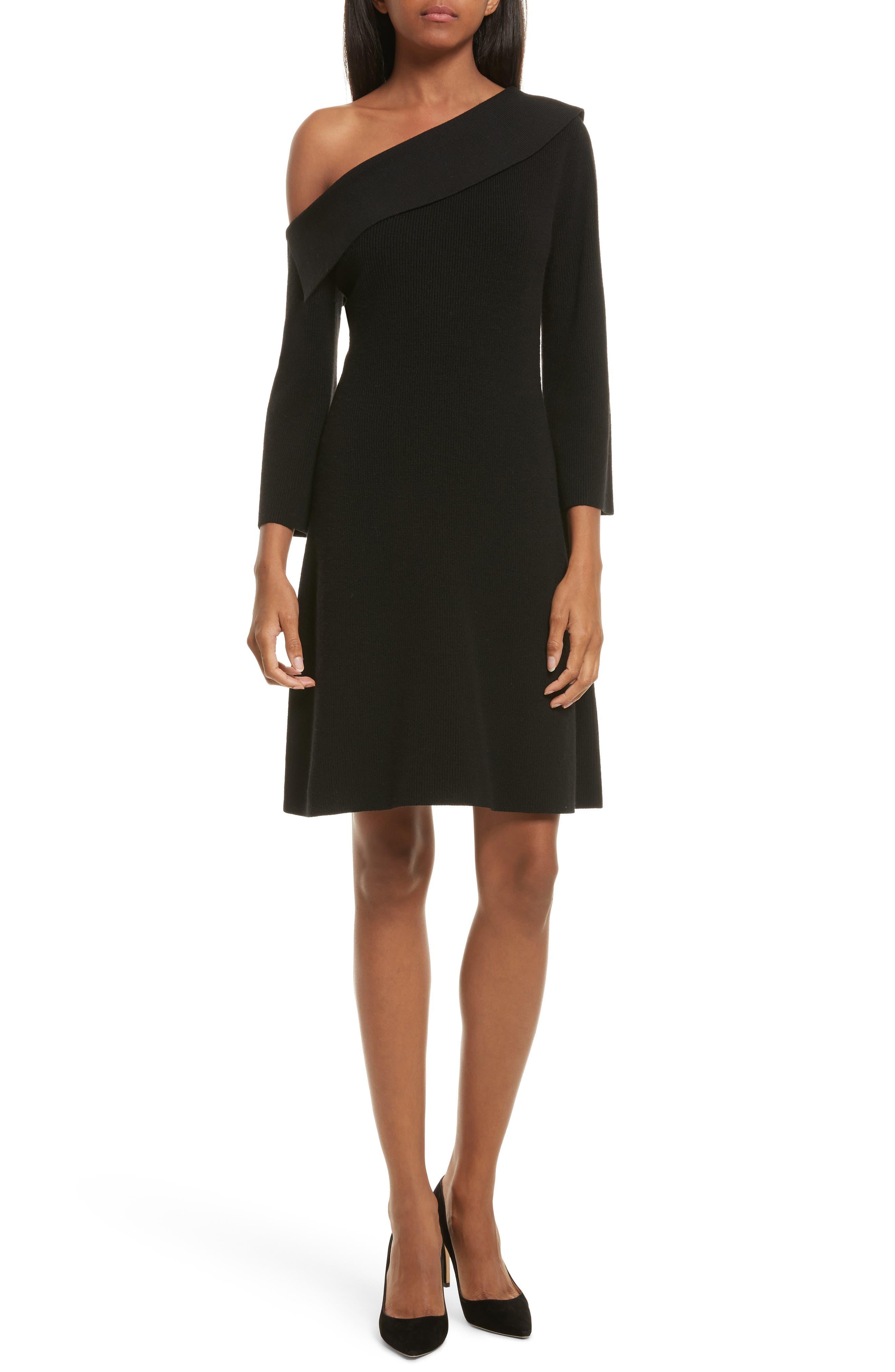 One Shoulder Fold Over Dress,                         Main,                         color, Black/ Black