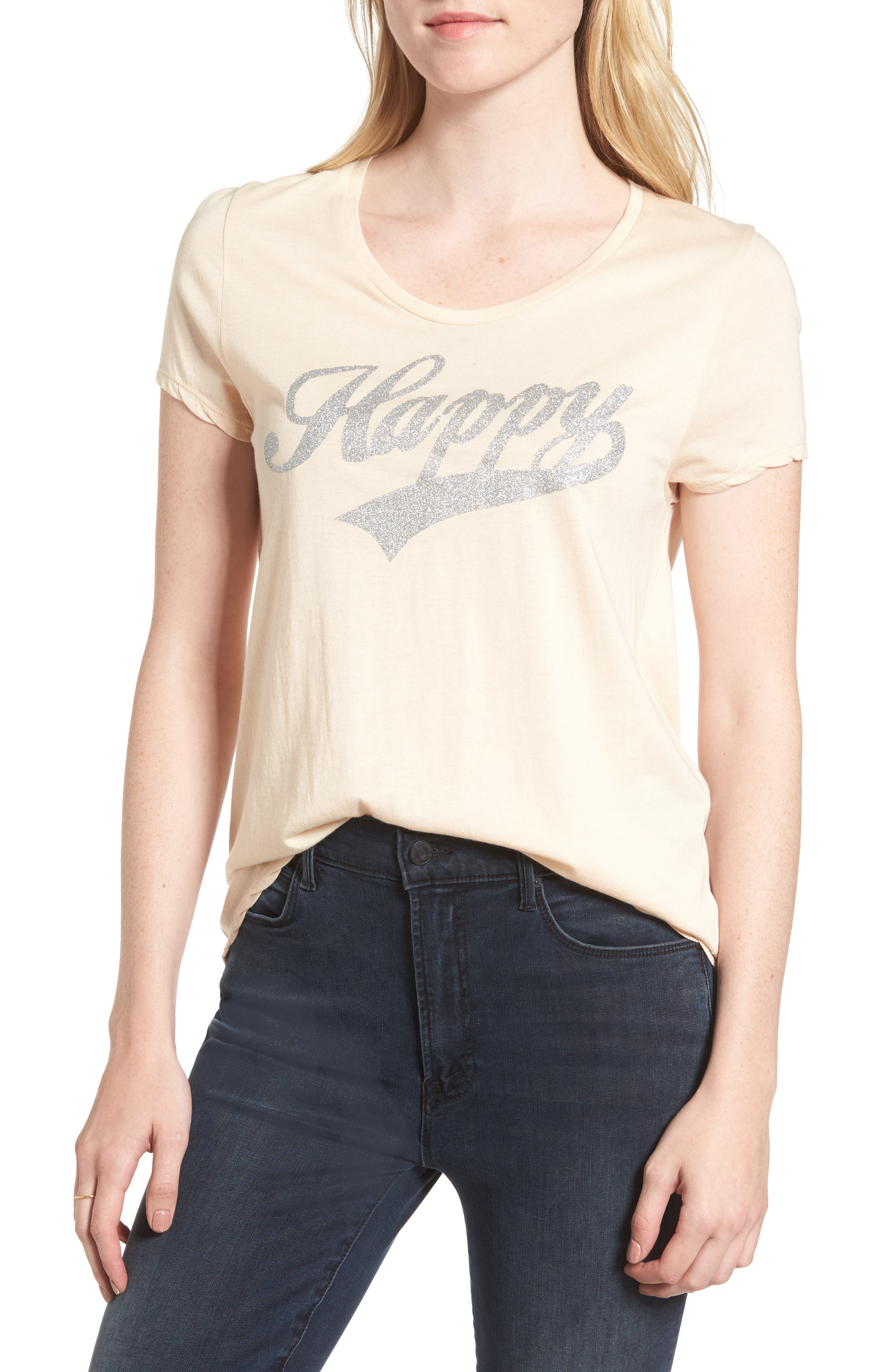 Happy Graphic Tee,                         Main,                         color, Coquille