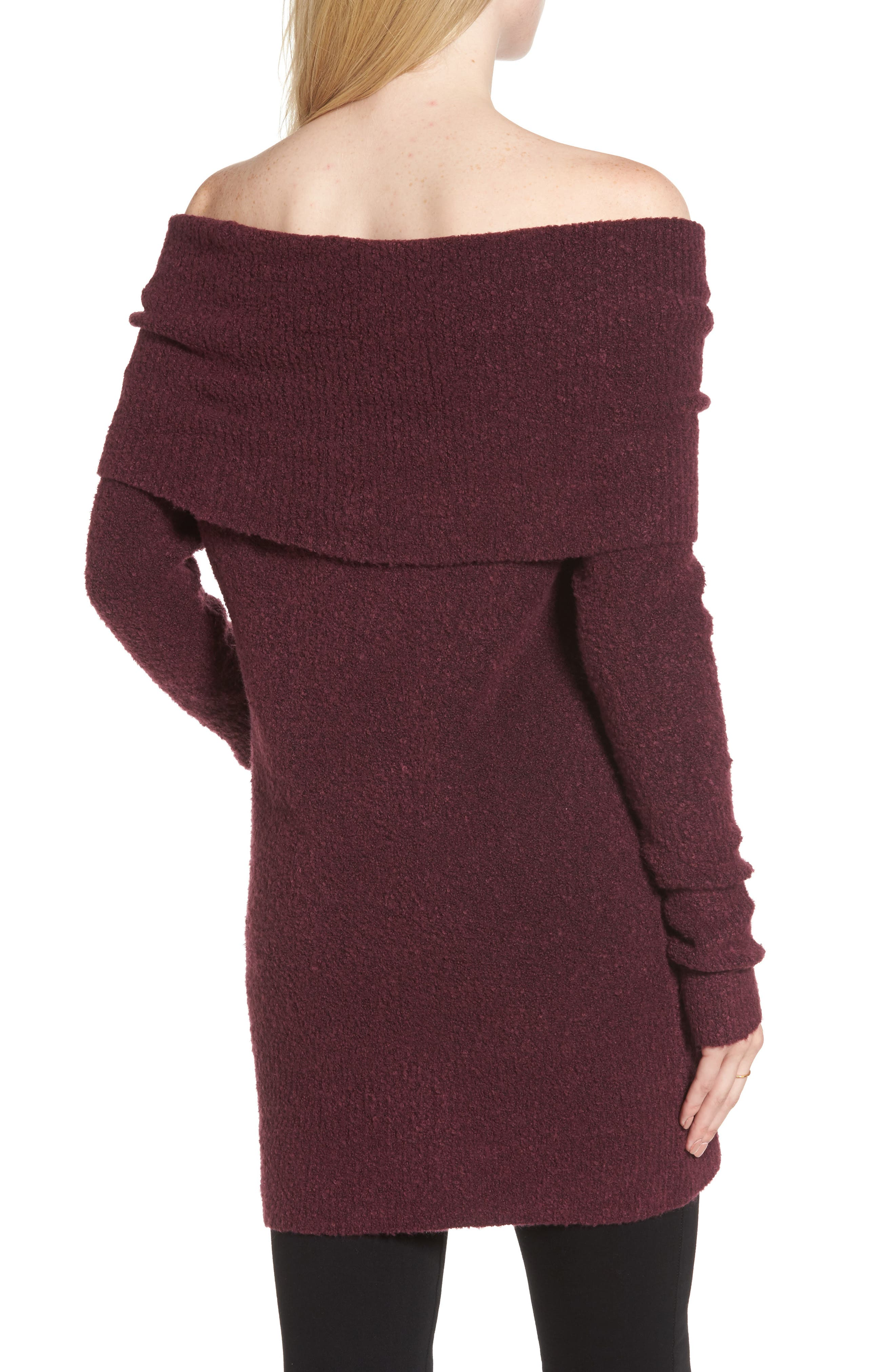 Off the Shoulder Tunic,                             Alternate thumbnail 2, color,                             Burgundy Fig