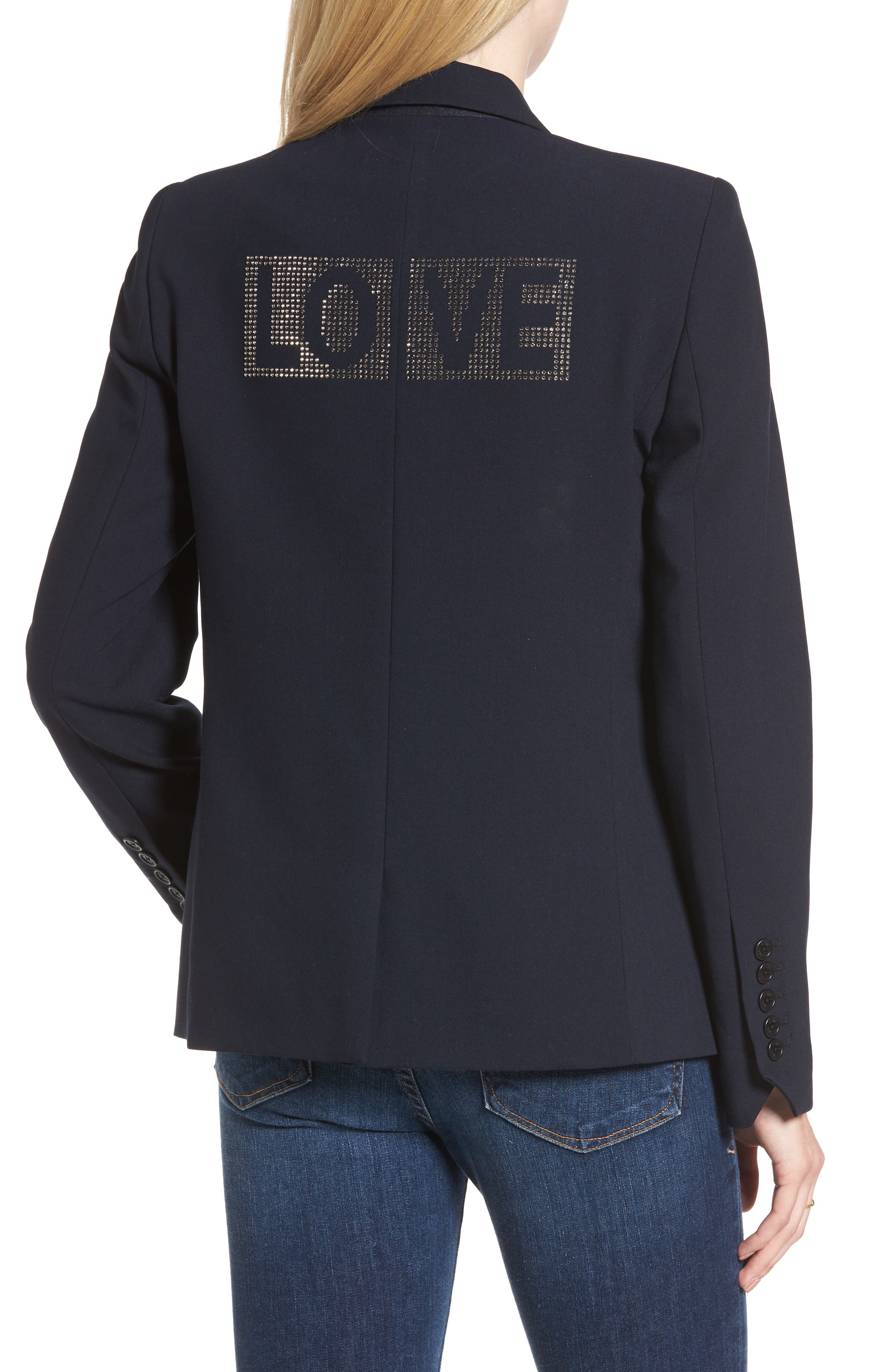 Victor Love Bis Studded Jacket,                             Alternate thumbnail 2, color,                             Marine