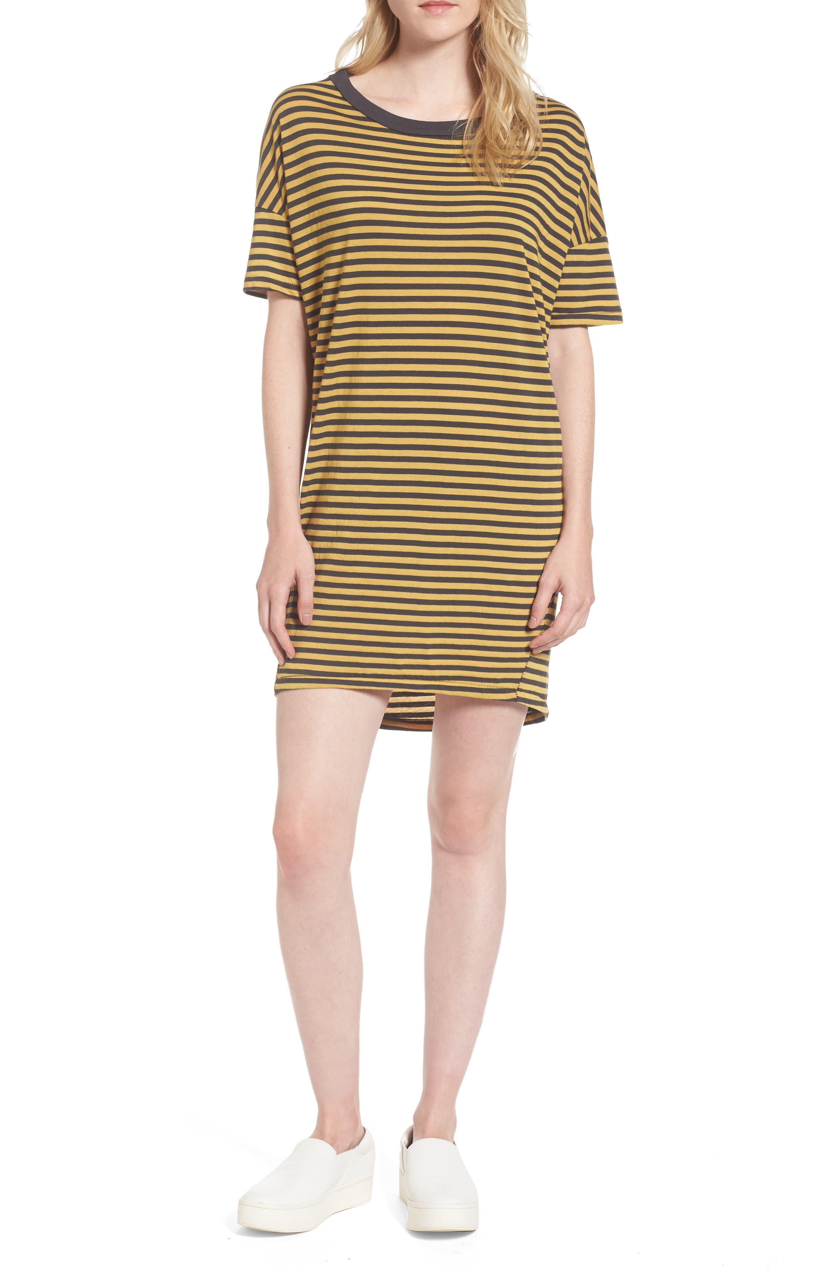 Mustard Stripe T-Shirt Dress,                         Main,                         color, Charcoal