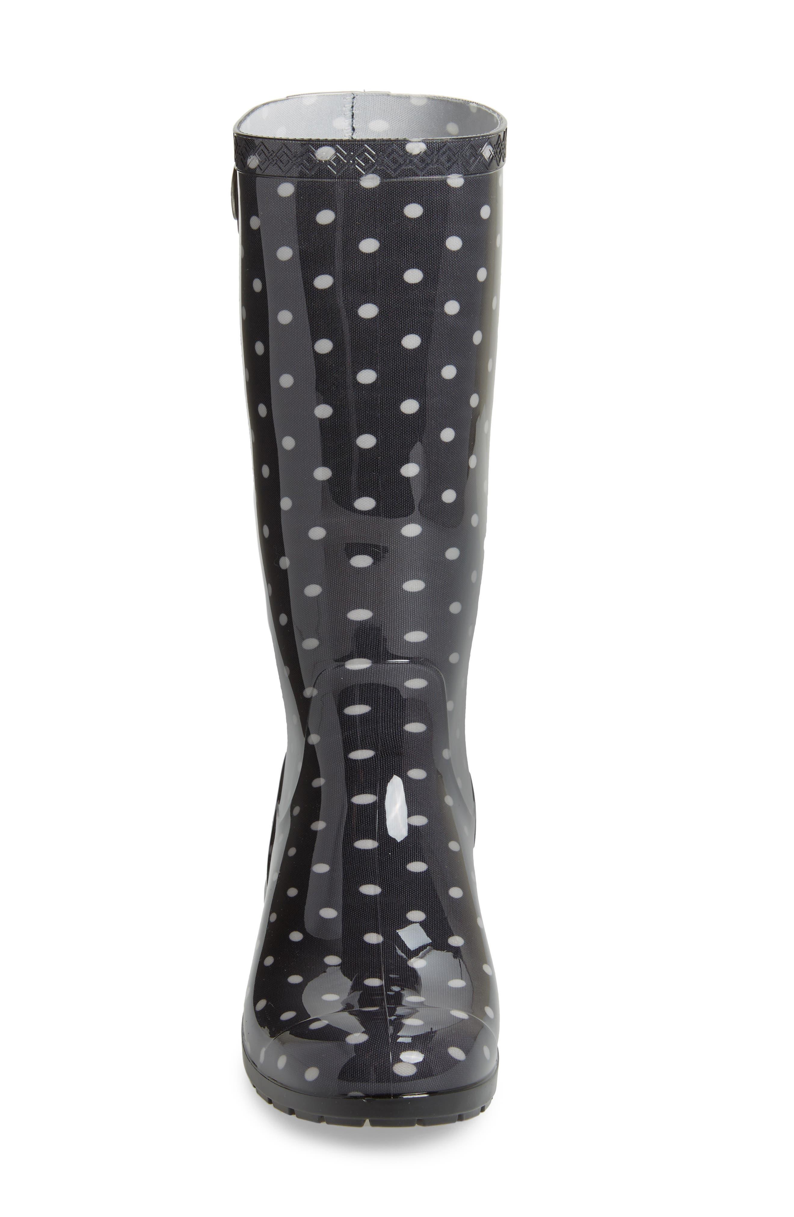 Shaye Polka Dot Rain Boot,                             Alternate thumbnail 4, color,                             Black/ White