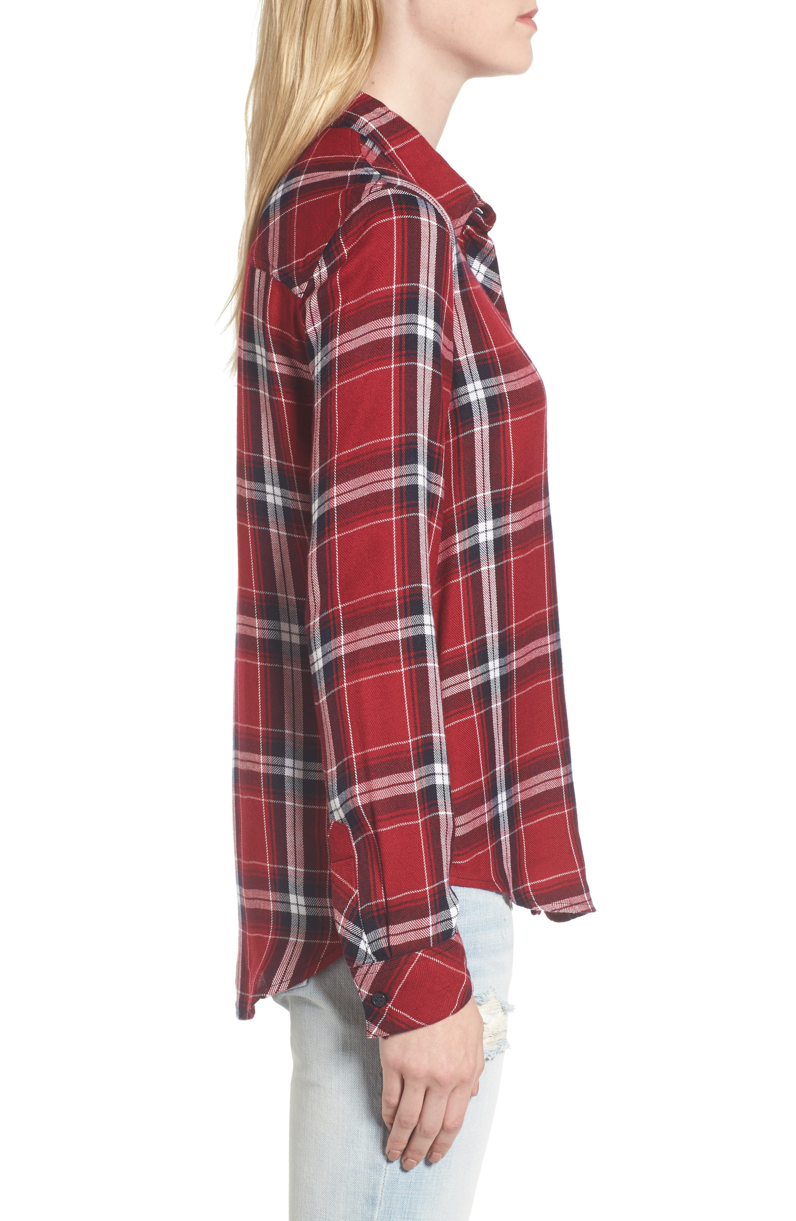 Hunter Plaid Shirt,                             Alternate thumbnail 3, color,                             Cranberry Ink