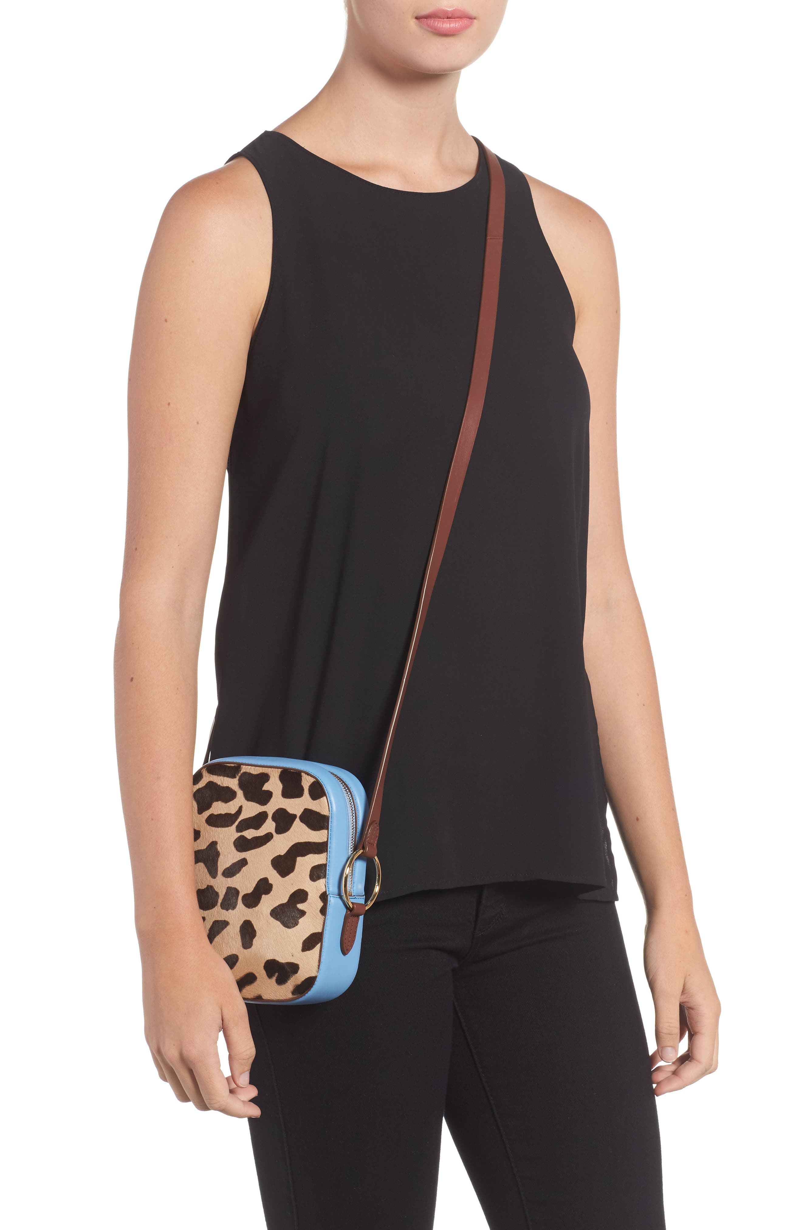 Leather & Genuine Calf Hair Camera Bag,                             Alternate thumbnail 2, color,                             Leopard/ Powder Blue