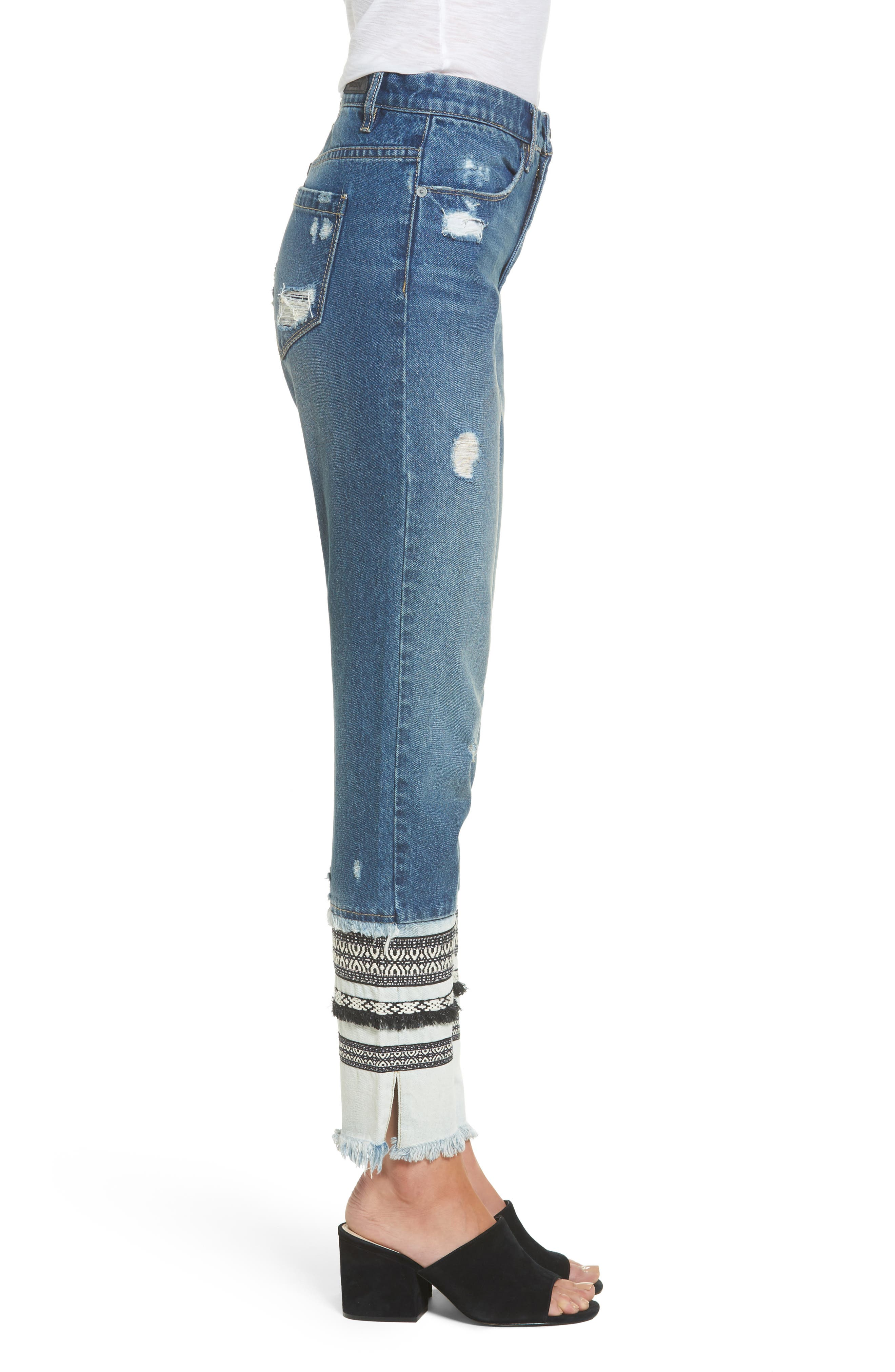 Embellished Straight Leg Jeans,                             Alternate thumbnail 3, color,                             Miss Molly Blue