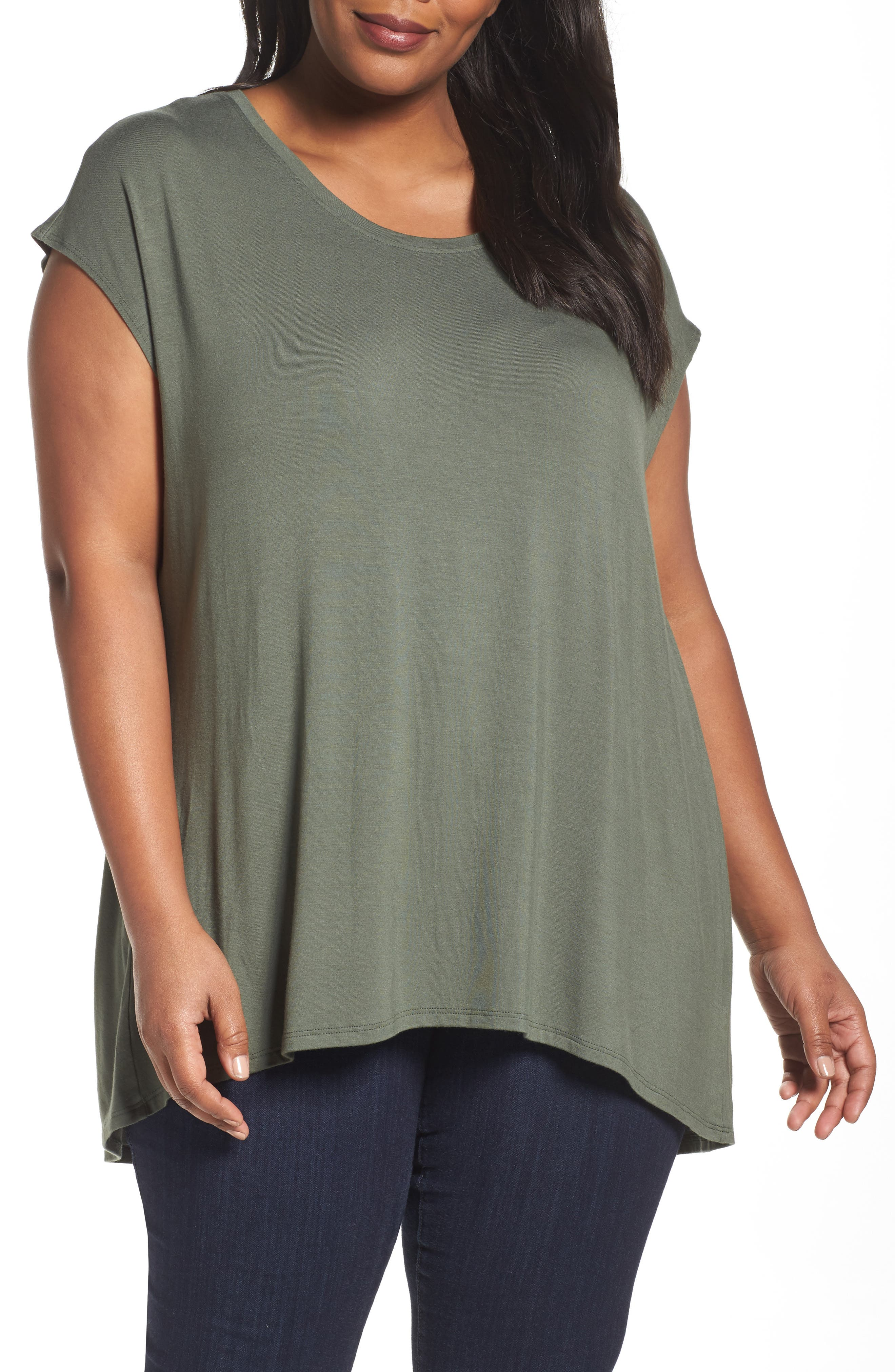 Sejour Shirred Back Dolman Tee (Plus Size)