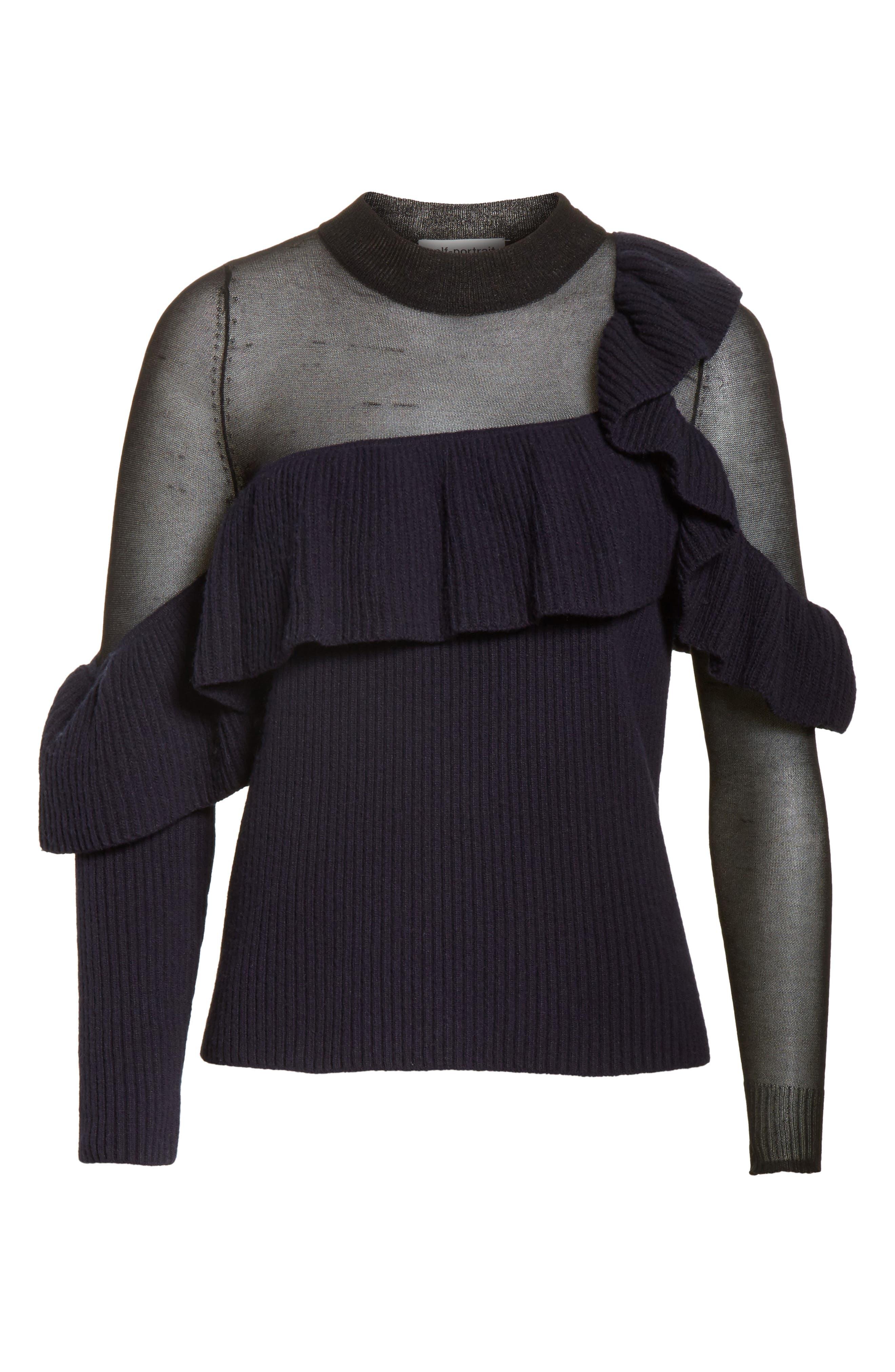 Asymmetrical Frill Illusion Sweater,                             Alternate thumbnail 6, color,                             Blue