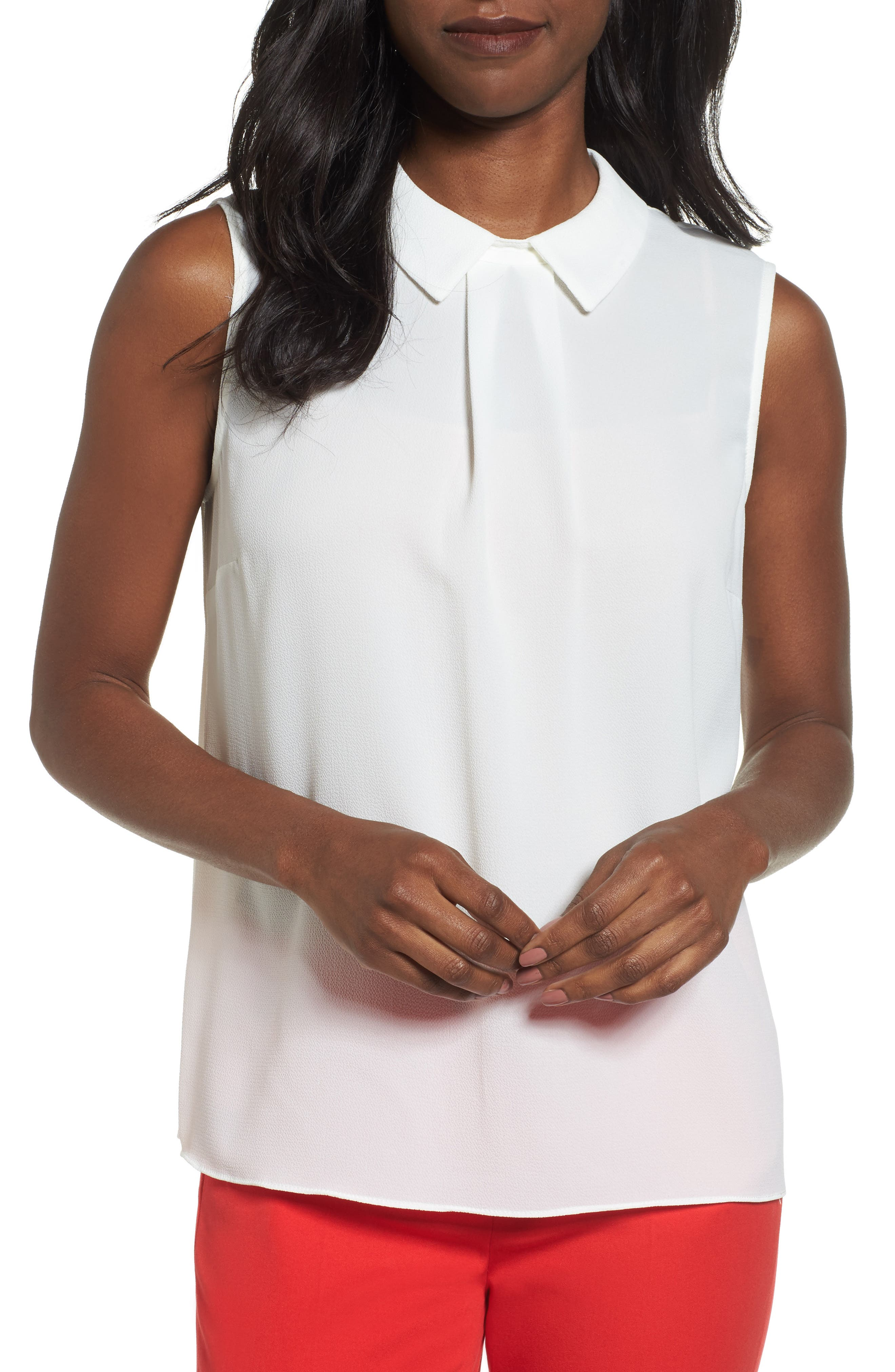 Collared Pleat Front Blouse,                         Main,                         color, New Ivory