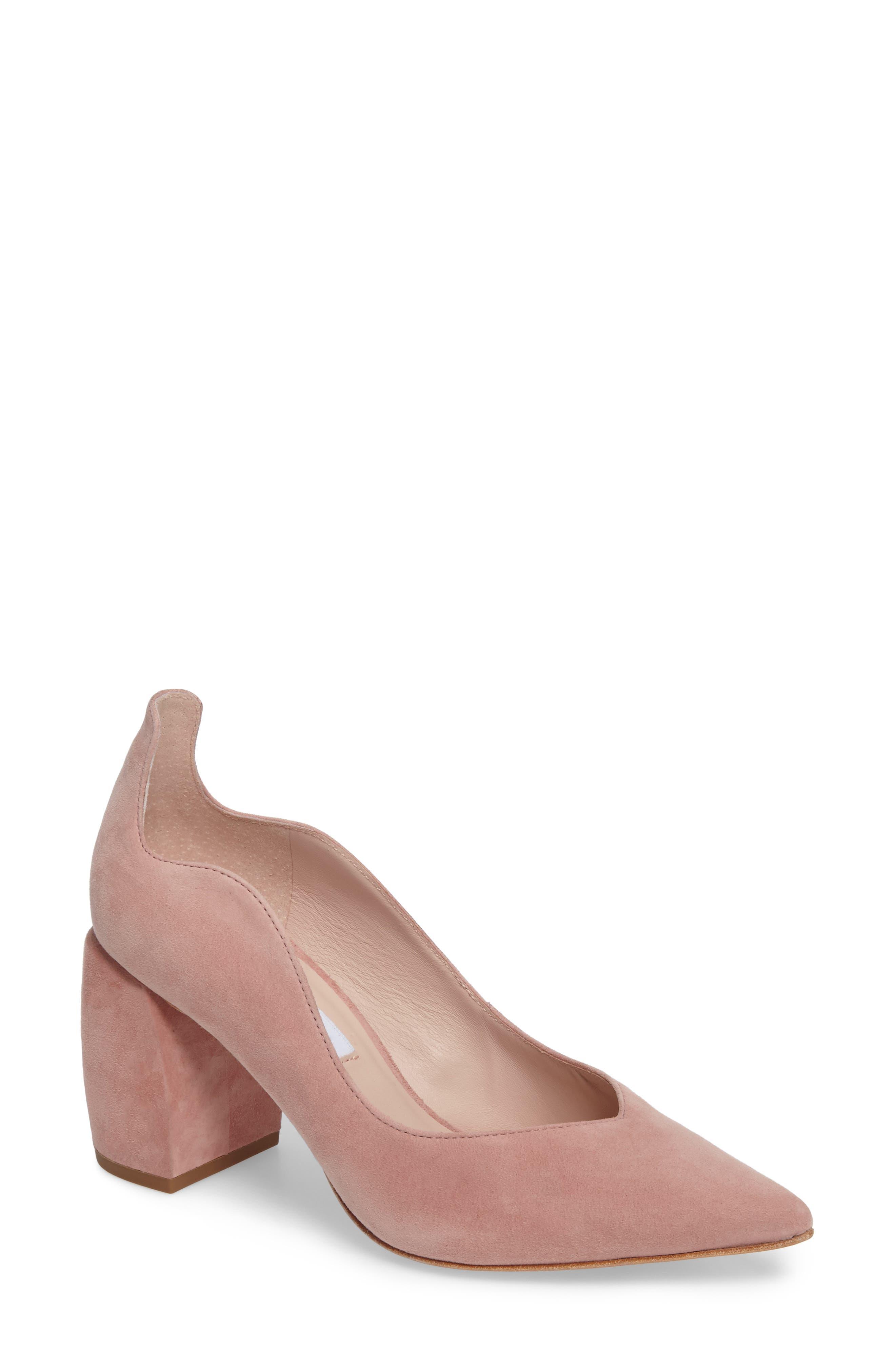 Erin Chunky Heel Pump,                         Main,                         color, Blush Suede