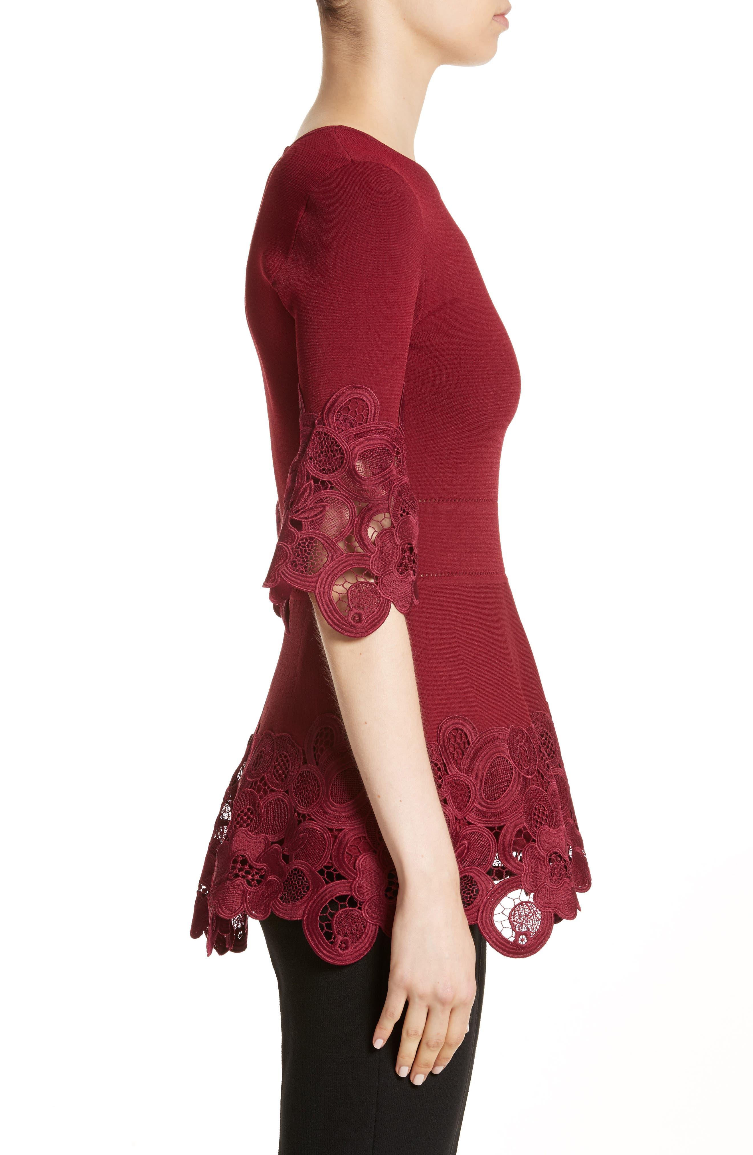 Lace Hem Knit Top,                             Alternate thumbnail 3, color,                             Mulberry