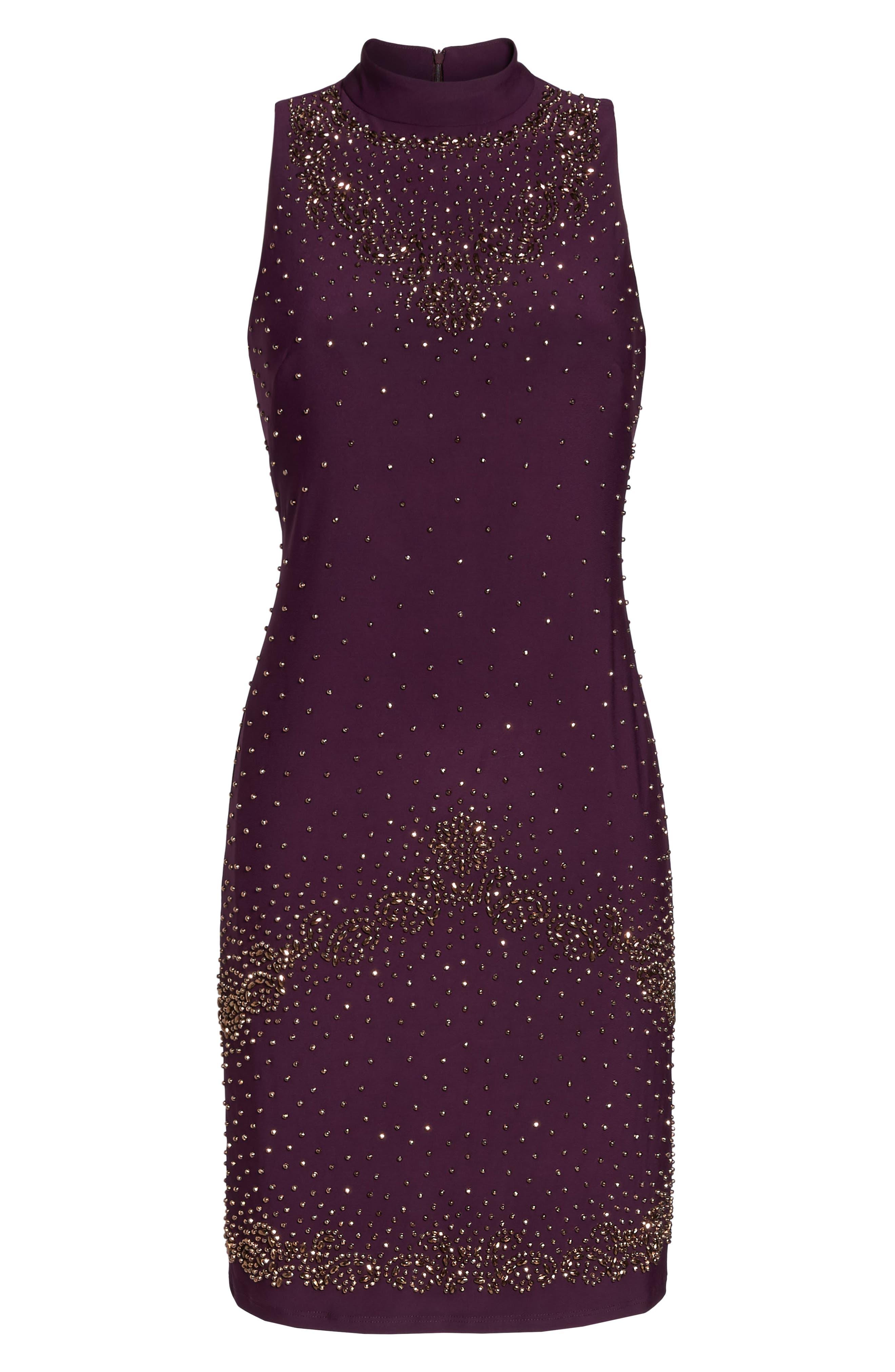 Beaded Sheath Dress,                             Alternate thumbnail 6, color,                             Eggplant